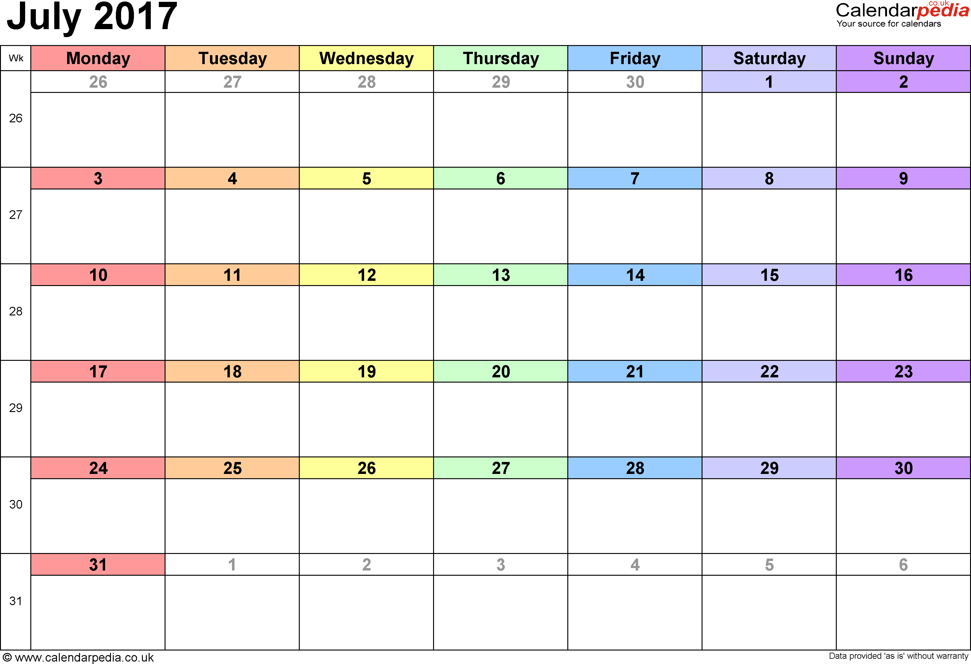Calendar July 2017, landscape orientation, 1 page, with UK bank holidays and week numbers