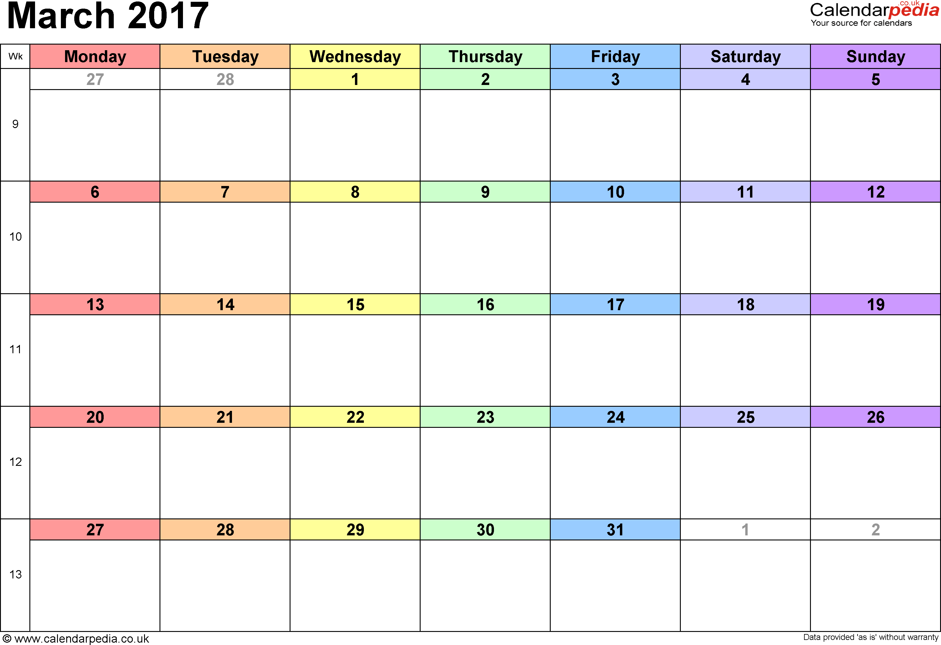Calendar March 2017, landscape orientation, 1 page, with UK bank holidays and week numbers