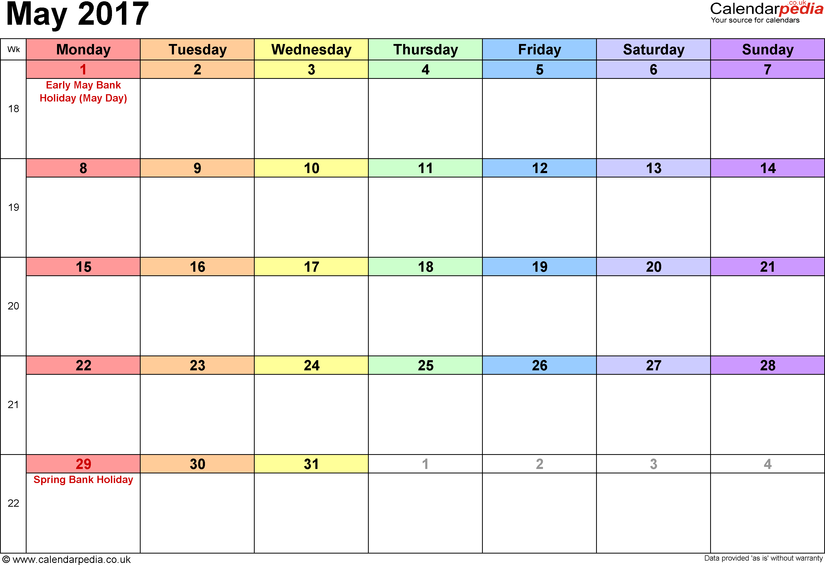 Calendar May 2017, landscape orientation, 1 page, with UK bank holidays and week numbers