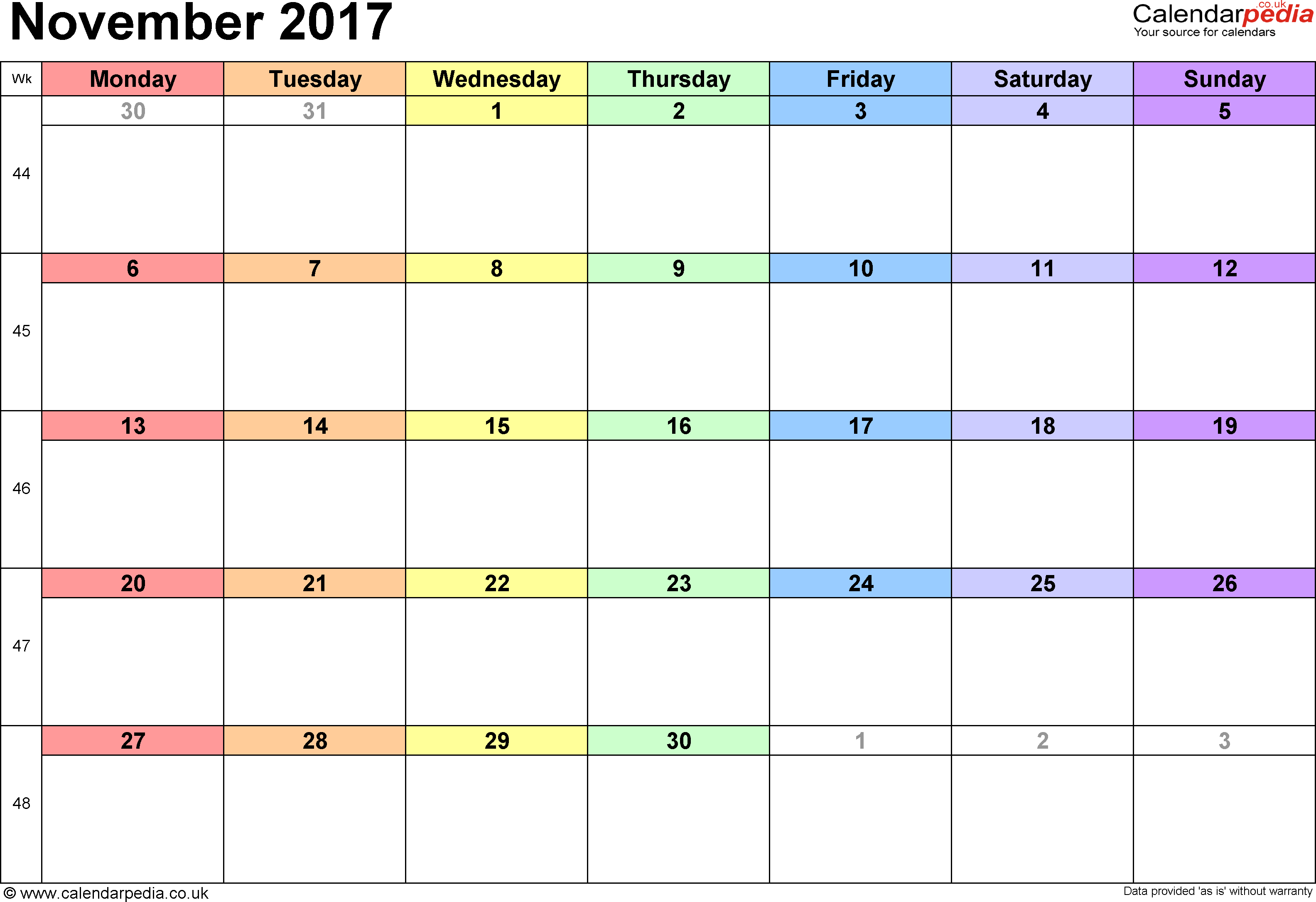 Calendar November 2017, landscape orientation, 1 page, with UK bank holidays and week numbers