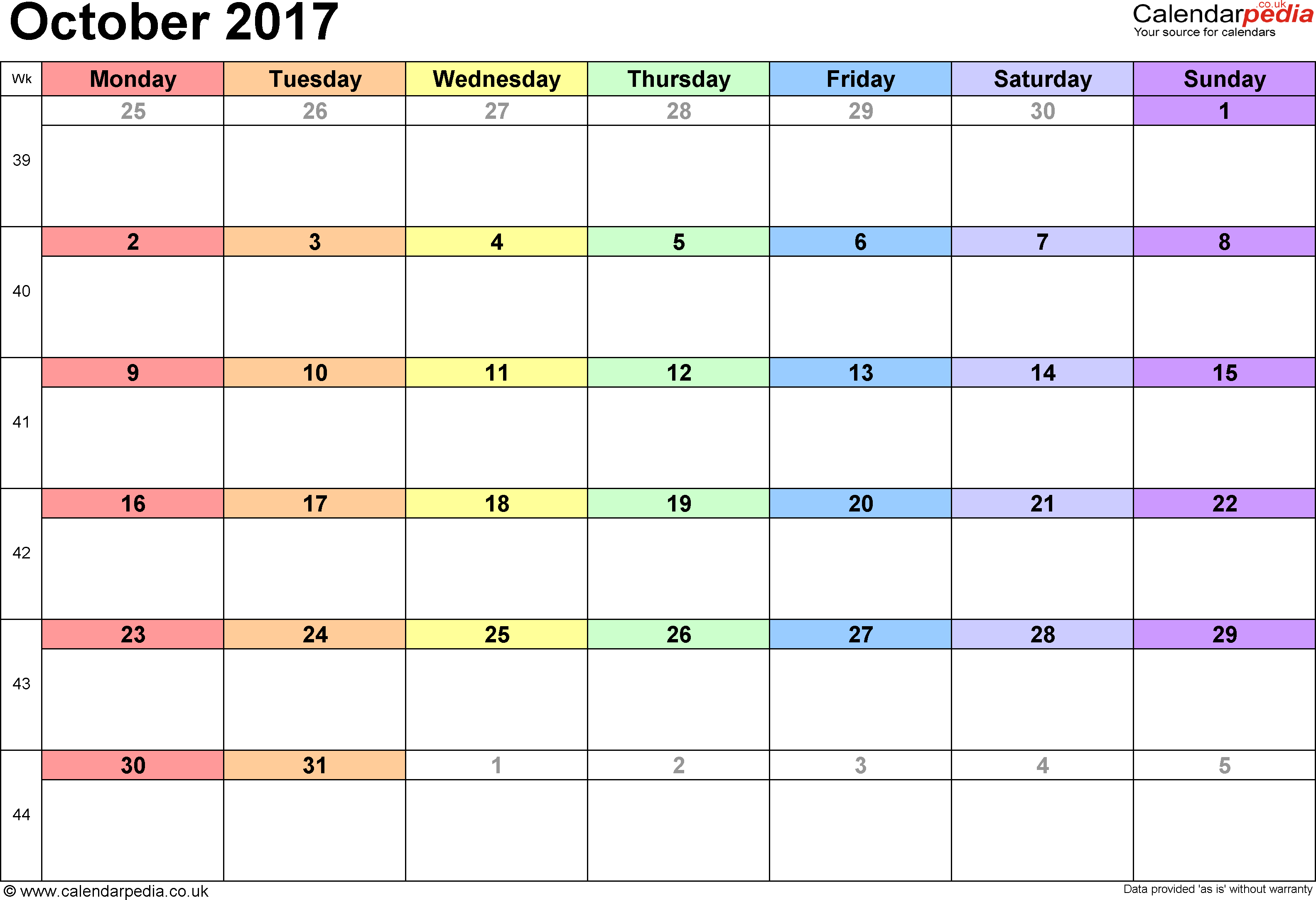 Calendar October 2017, landscape orientation, 1 page, with UK bank holidays and week numbers