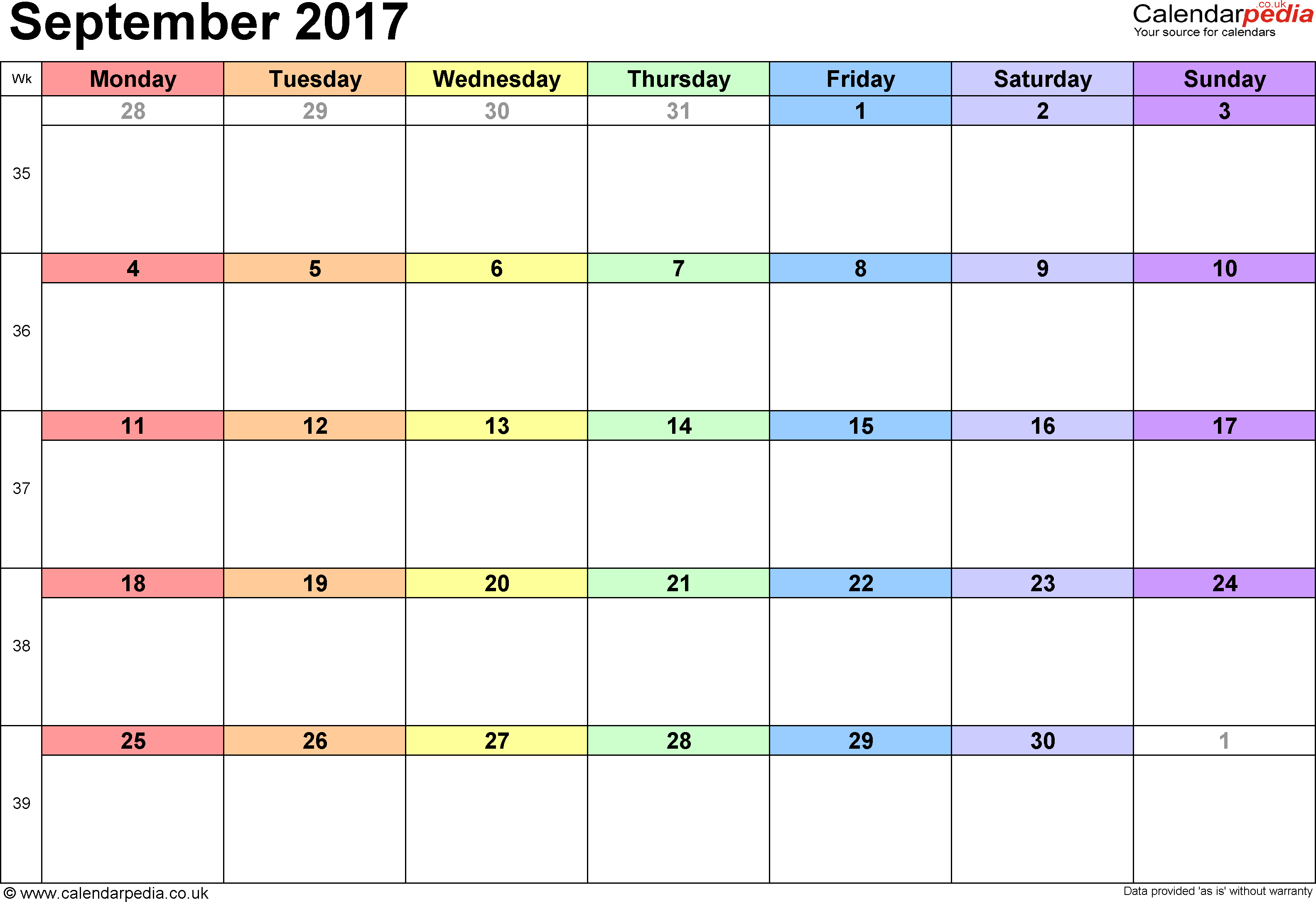 Calendar September 2017, landscape orientation, 1 page, with UK bank holidays and week numbers