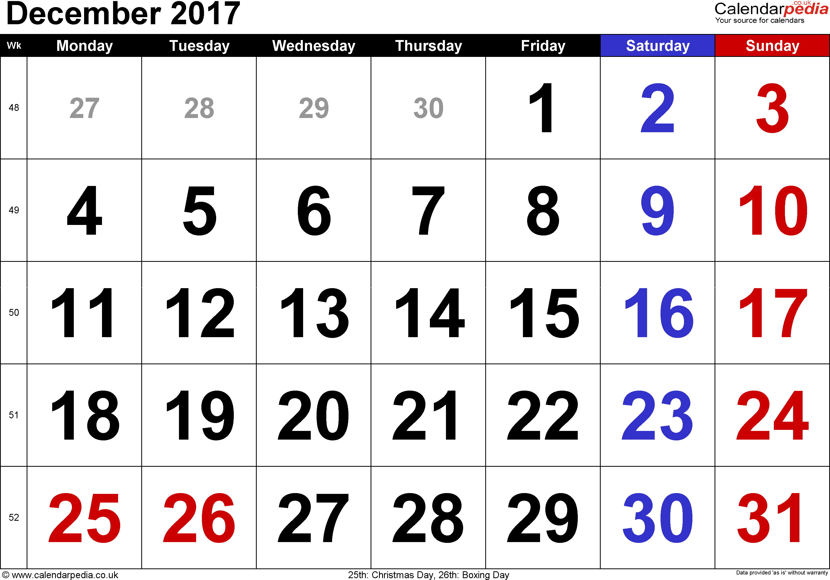 Calendar December 2017, landscape orientation, large numerals, 1 page, with UK bank holidays and week numbers