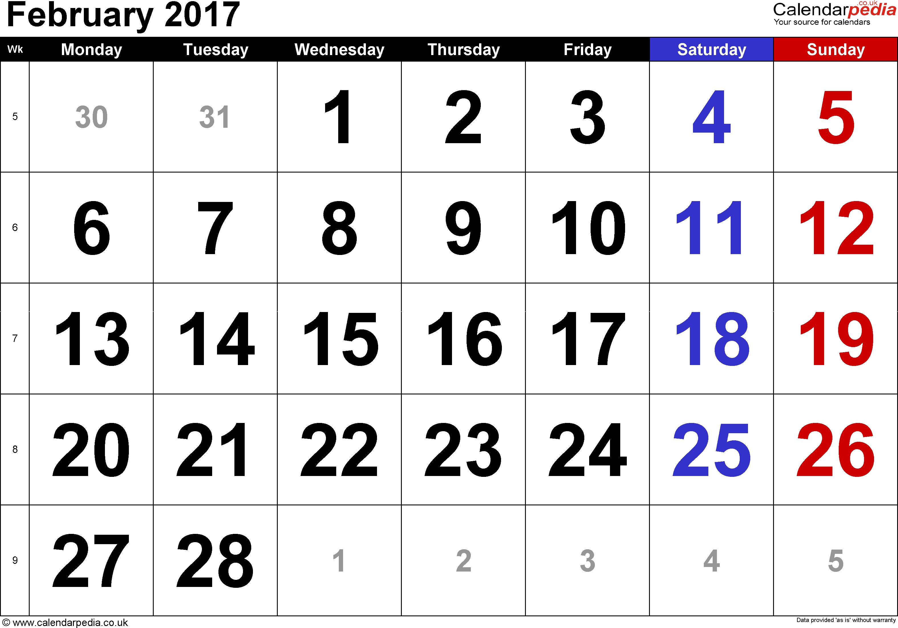 Calendar February 2017, landscape orientation, large numerals, 1 page, with UK bank holidays and week numbers