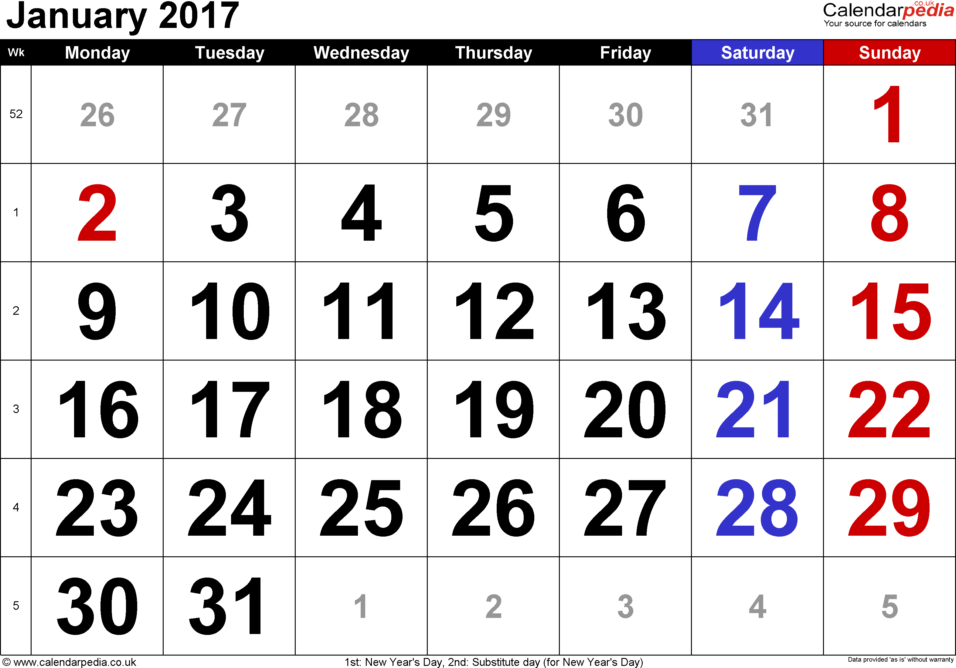 Calendar January 2017, landscape orientation, large numerals, 1 page, with UK bank holidays and week numbers
