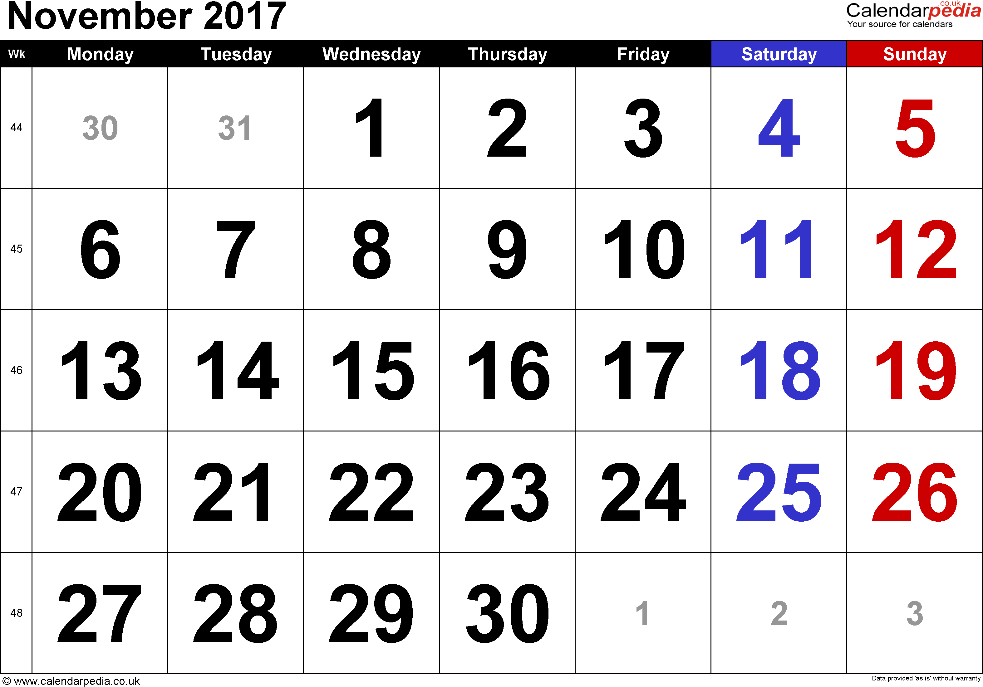 Calendar November 2017, landscape orientation, large numerals, 1 page, with UK bank holidays and week numbers