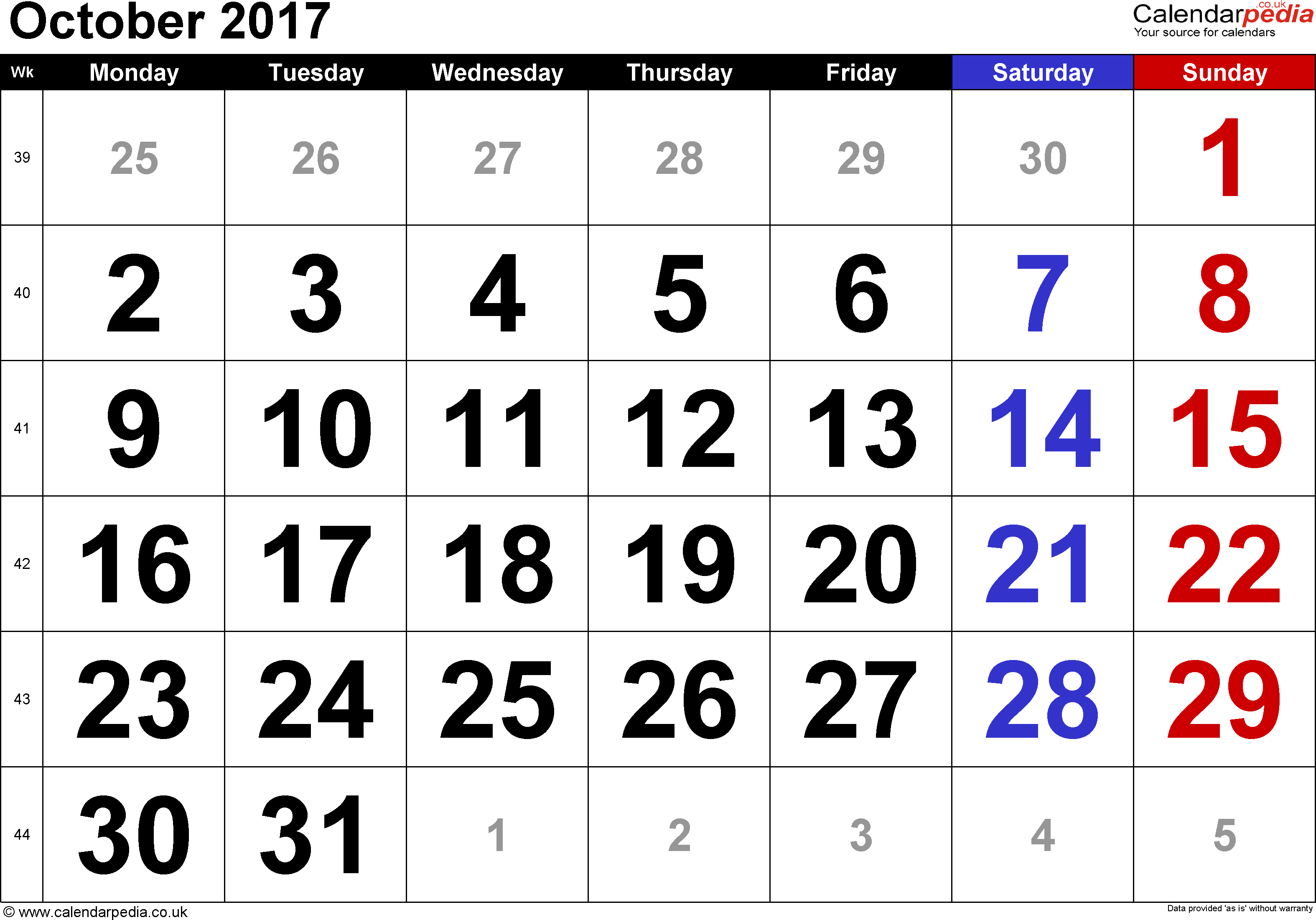 Calendar October 2017, landscape orientation, large numerals, 1 page, with UK bank holidays and week numbers