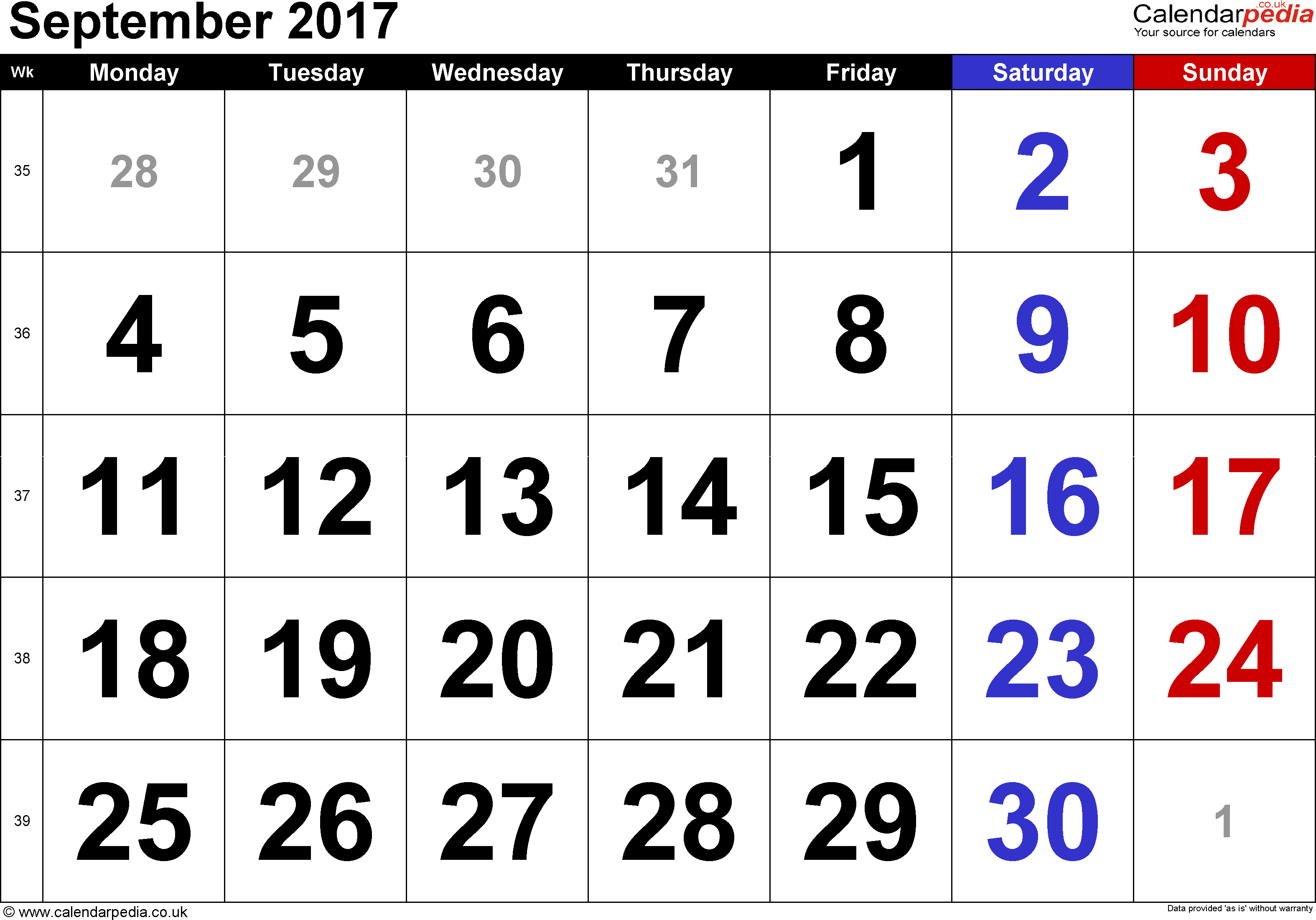 Calendar September 2017, landscape orientation, large numerals, 1 page, with UK bank holidays and week numbers