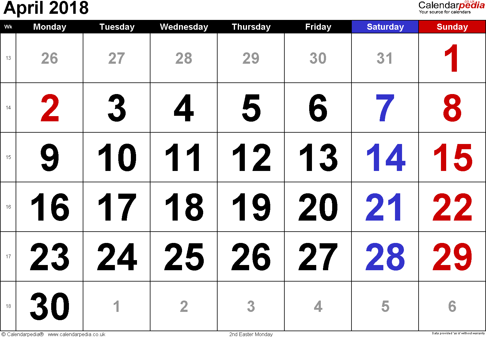 Calendar April 2018, landscape orientation, large numerals, 1 page, with UK bank holidays and week numbers