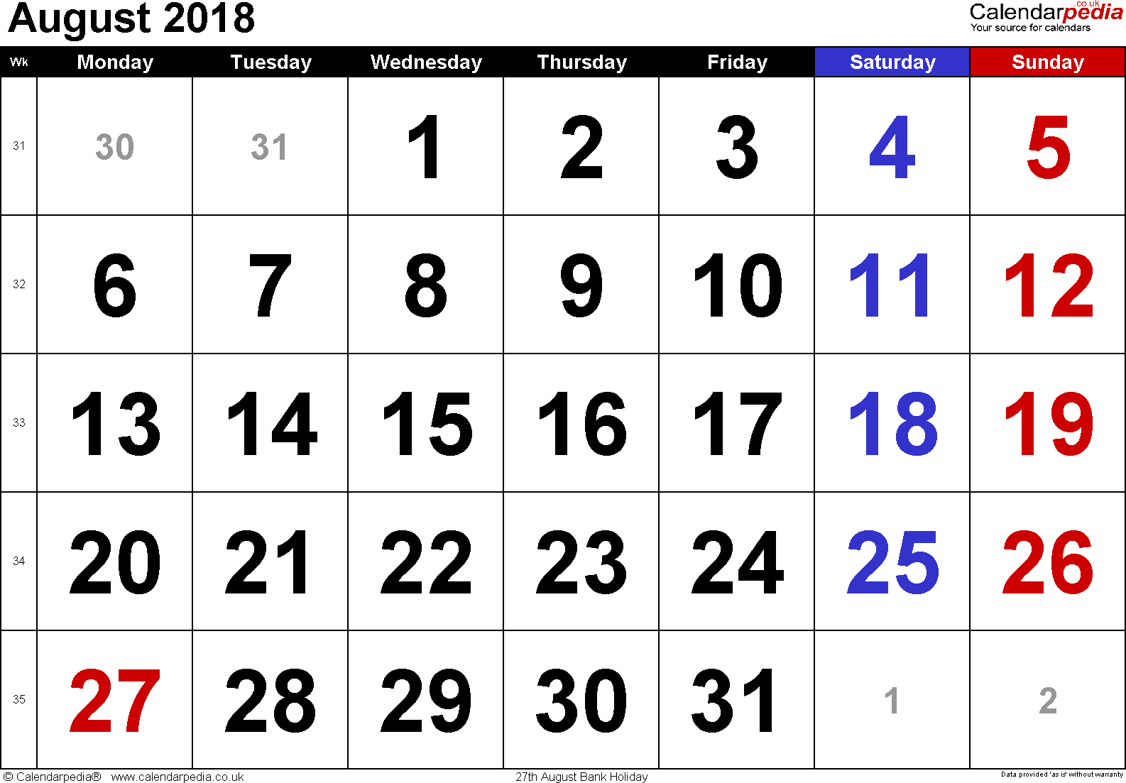 Calendar August 2018, landscape orientation, large numerals, 1 page, with UK bank holidays and week numbers