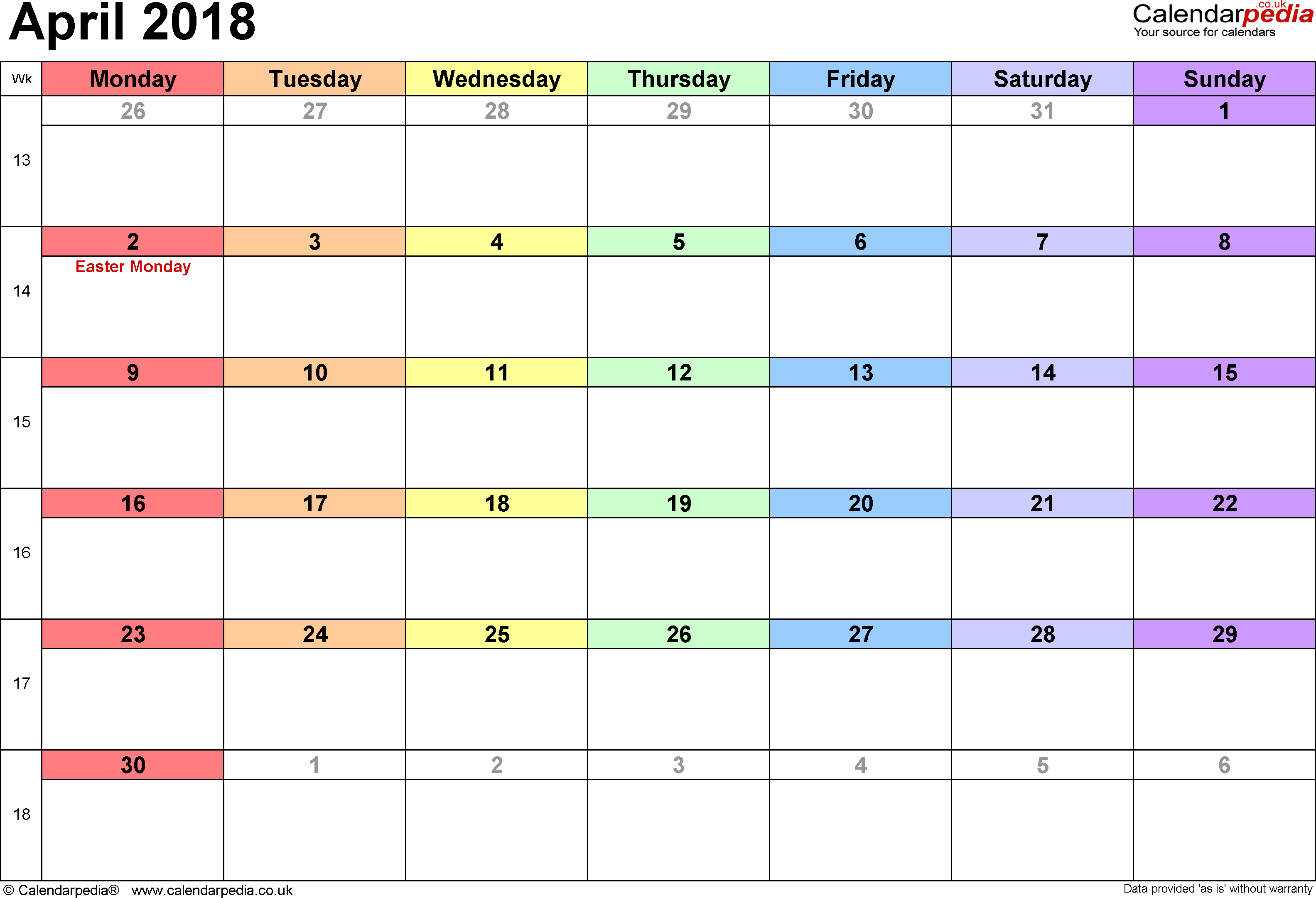 Calendar April 2018, landscape orientation, 1 page, with UK bank holidays and week numbers