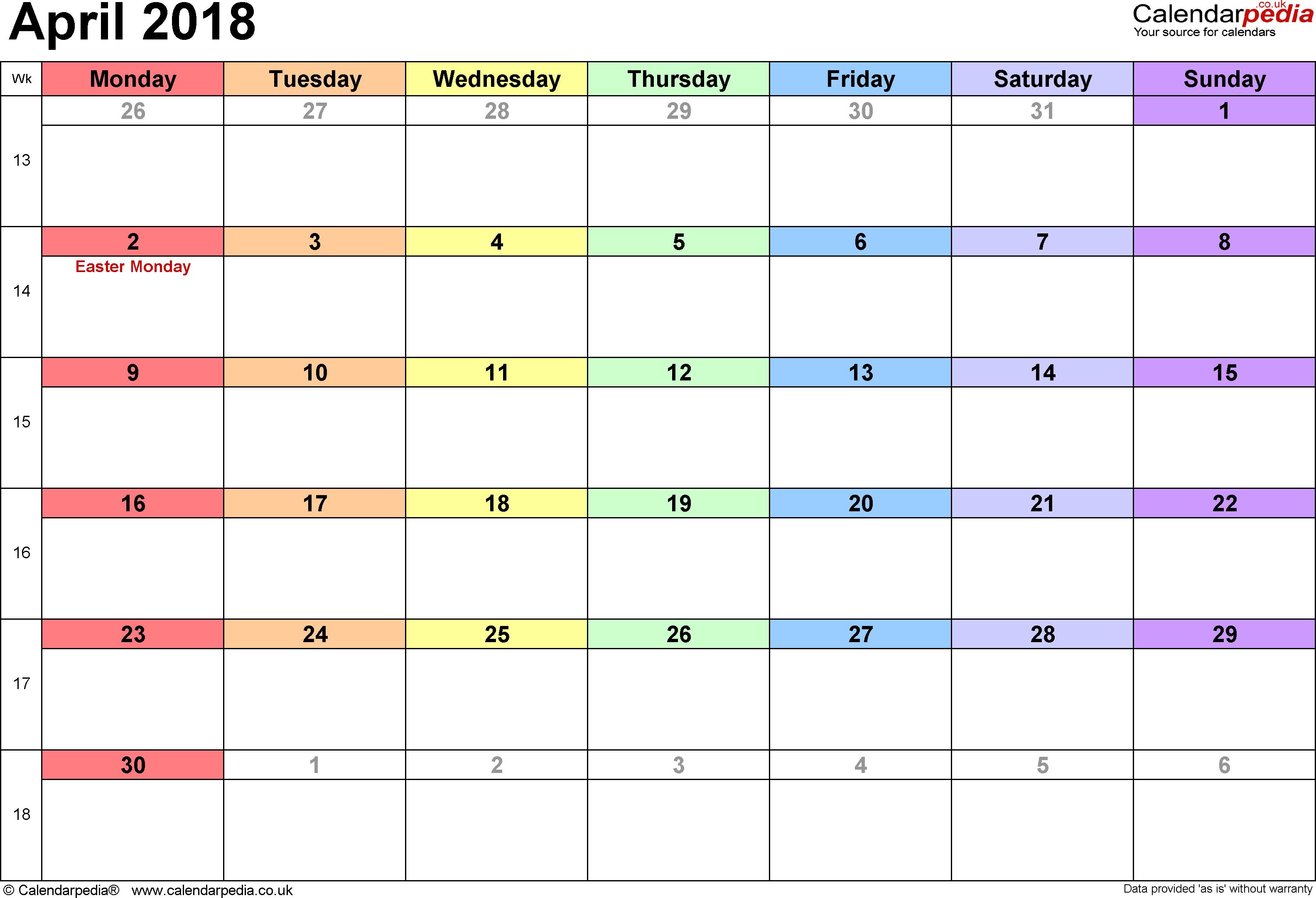 Calendar April 2018Calendar April 2018Calendar April 2018