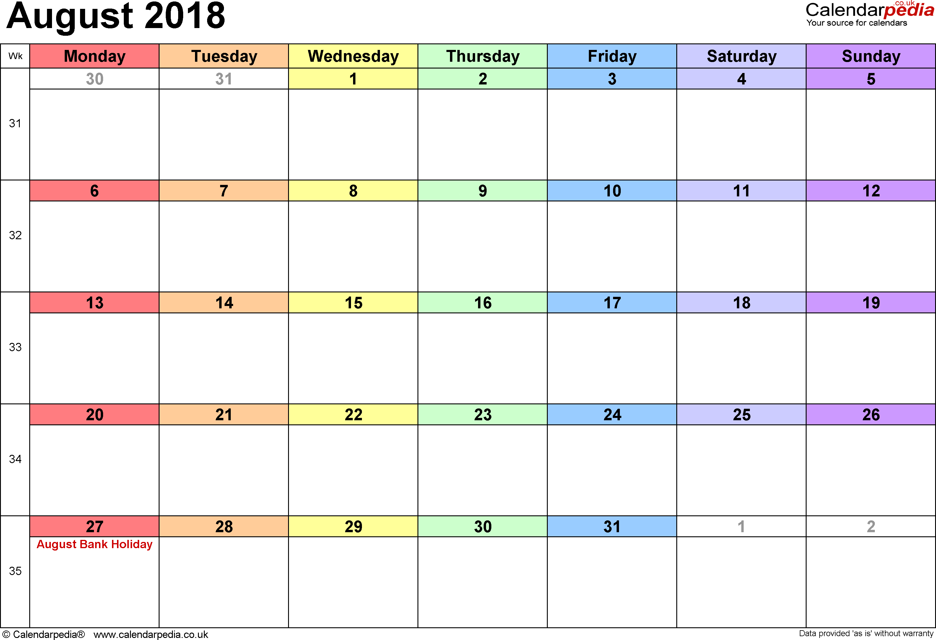 Calendar August 2018, landscape orientation, 1 page, with UK bank holidays and week numbers