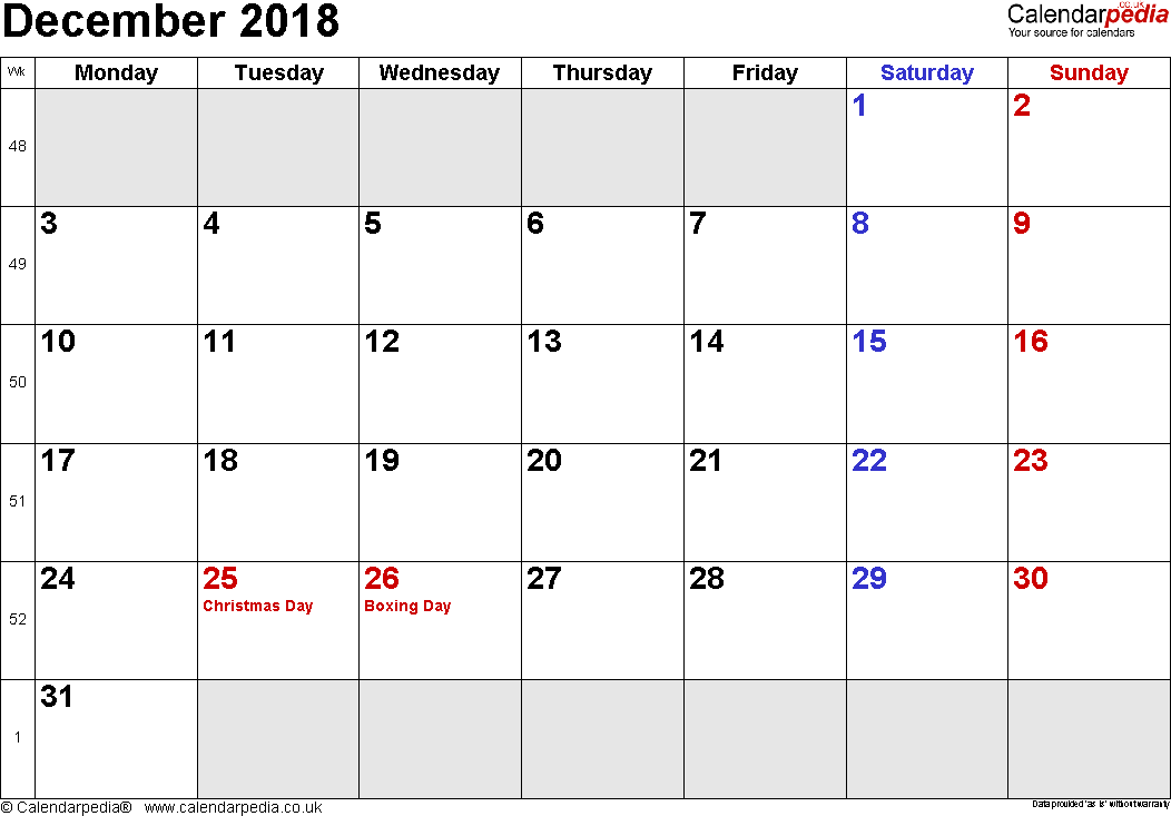 Calendar December 2018, landscape orientation, small numerals, 1 page, with UK bank holidays and week numbers