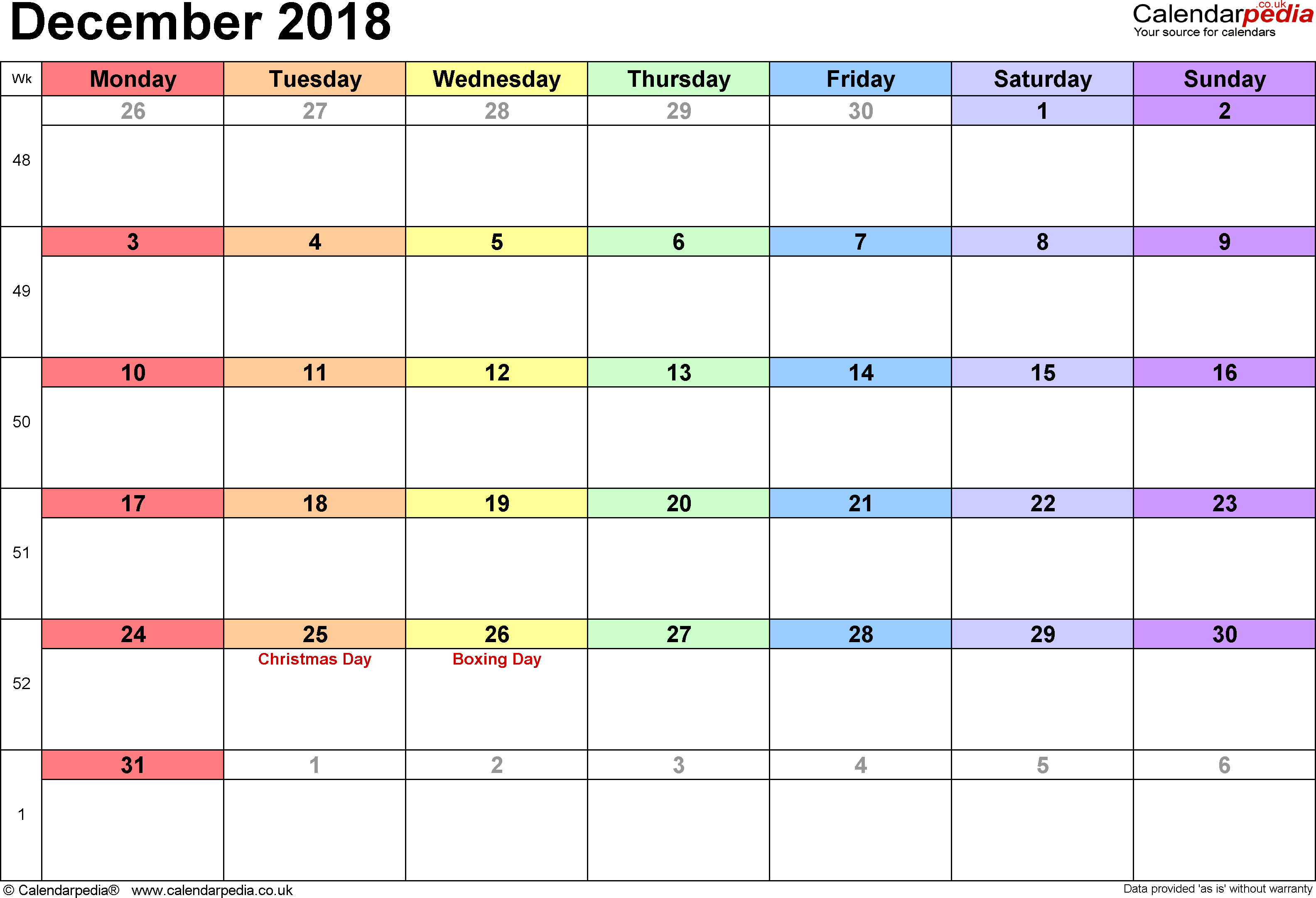 Calendar December 2018, landscape orientation, 1 page, with UK bank holidays and week numbers