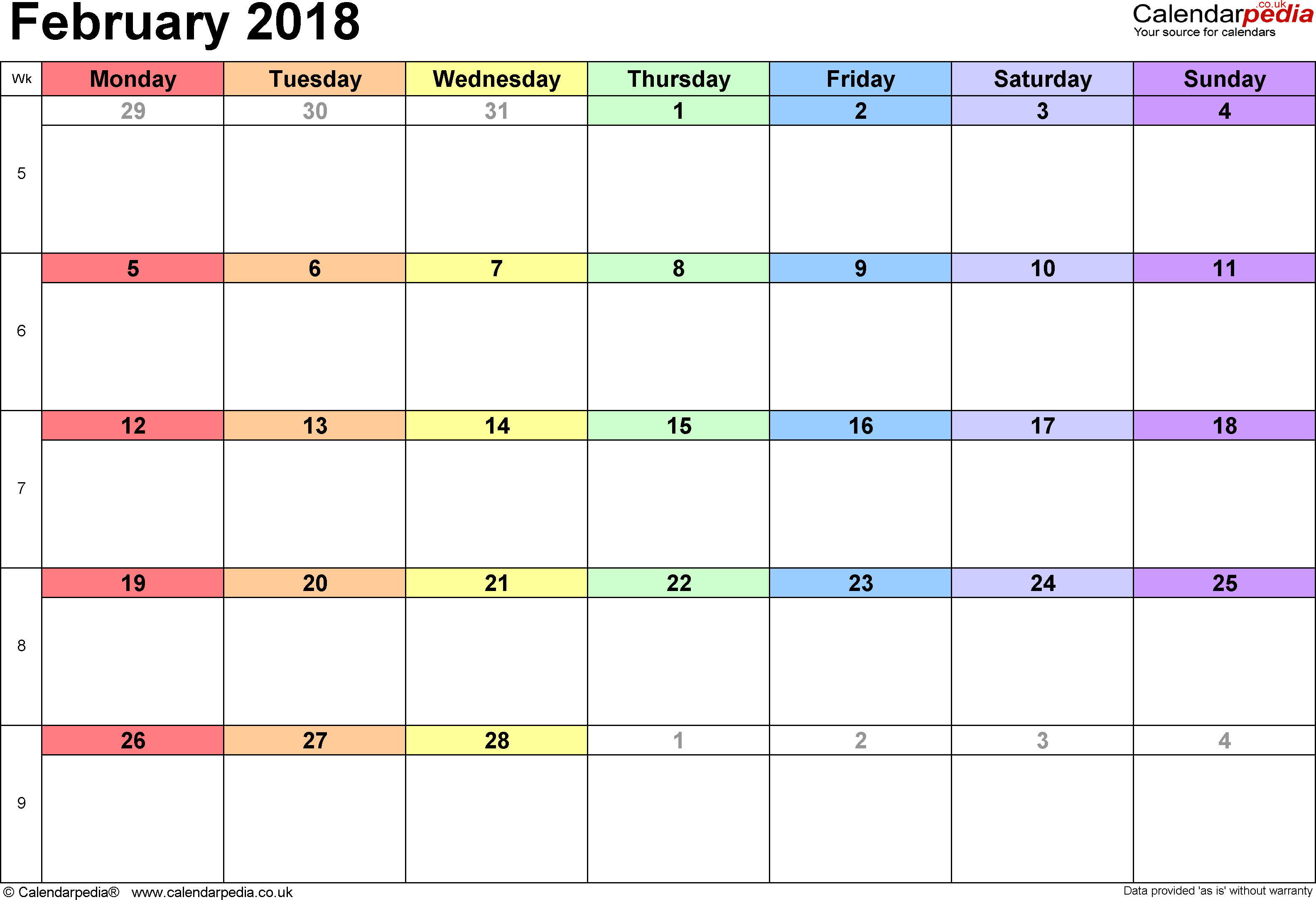 Calendar February 2018, landscape orientation, 1 page, with UK bank holidays and week numbers
