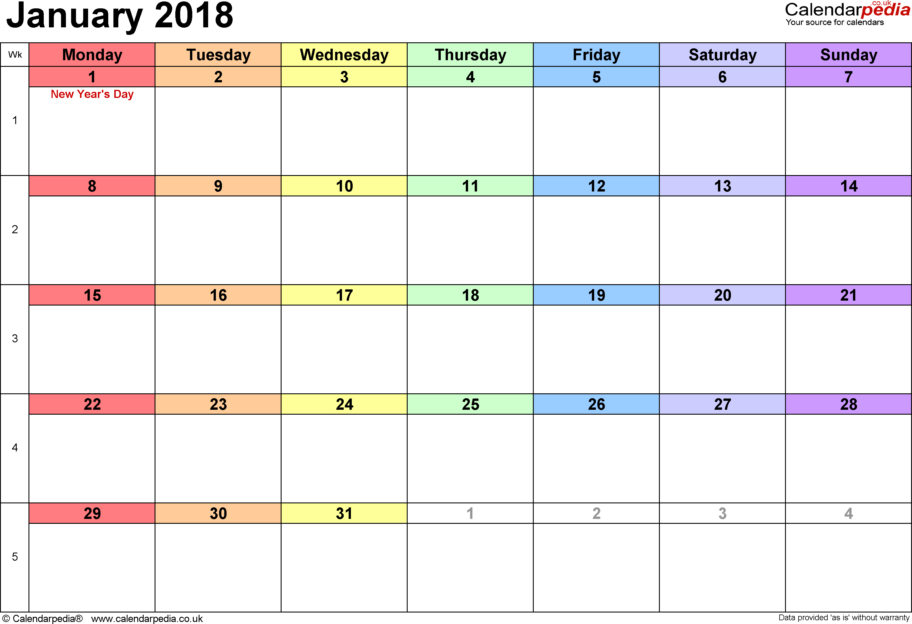 Calendar January 2018, landscape orientation, 1 page, with UK bank holidays and week numbers