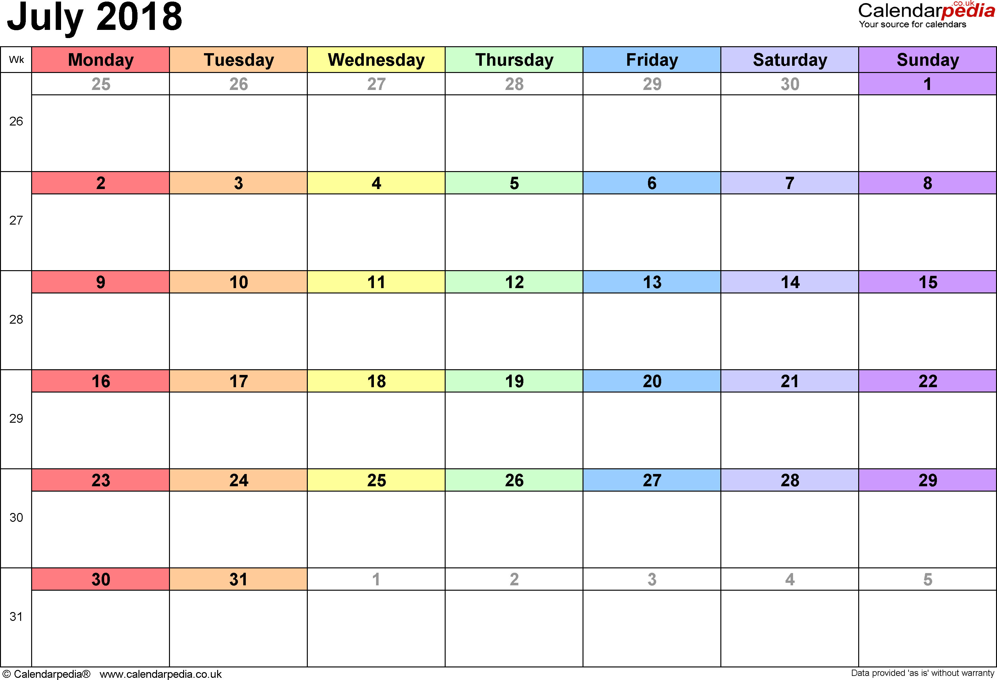 Calendar July 2018, landscape orientation, 1 page, with UK bank holidays and week numbers