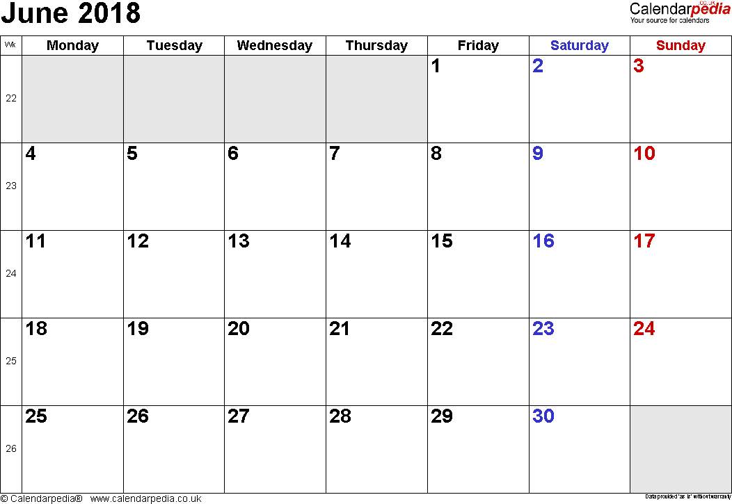 Calendar June 2018, landscape orientation, small numerals, 1 page, with UK bank holidays and week numbers