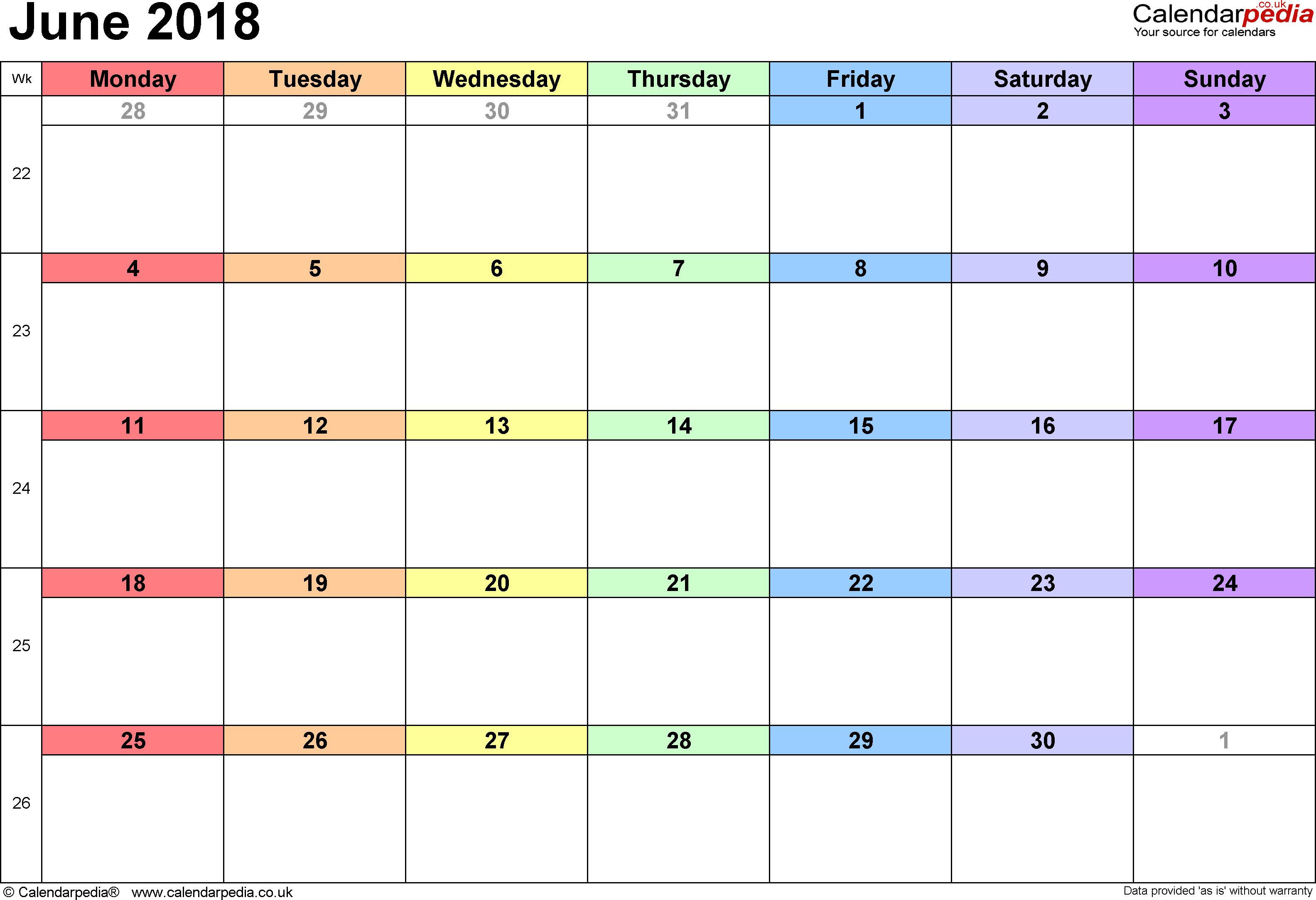 Calendar June 2018, landscape orientation, 1 page, with UK bank holidays and week numbers