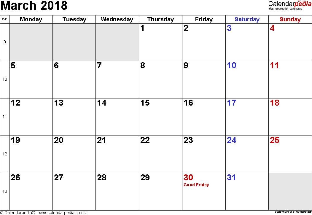 working week calendar 2018