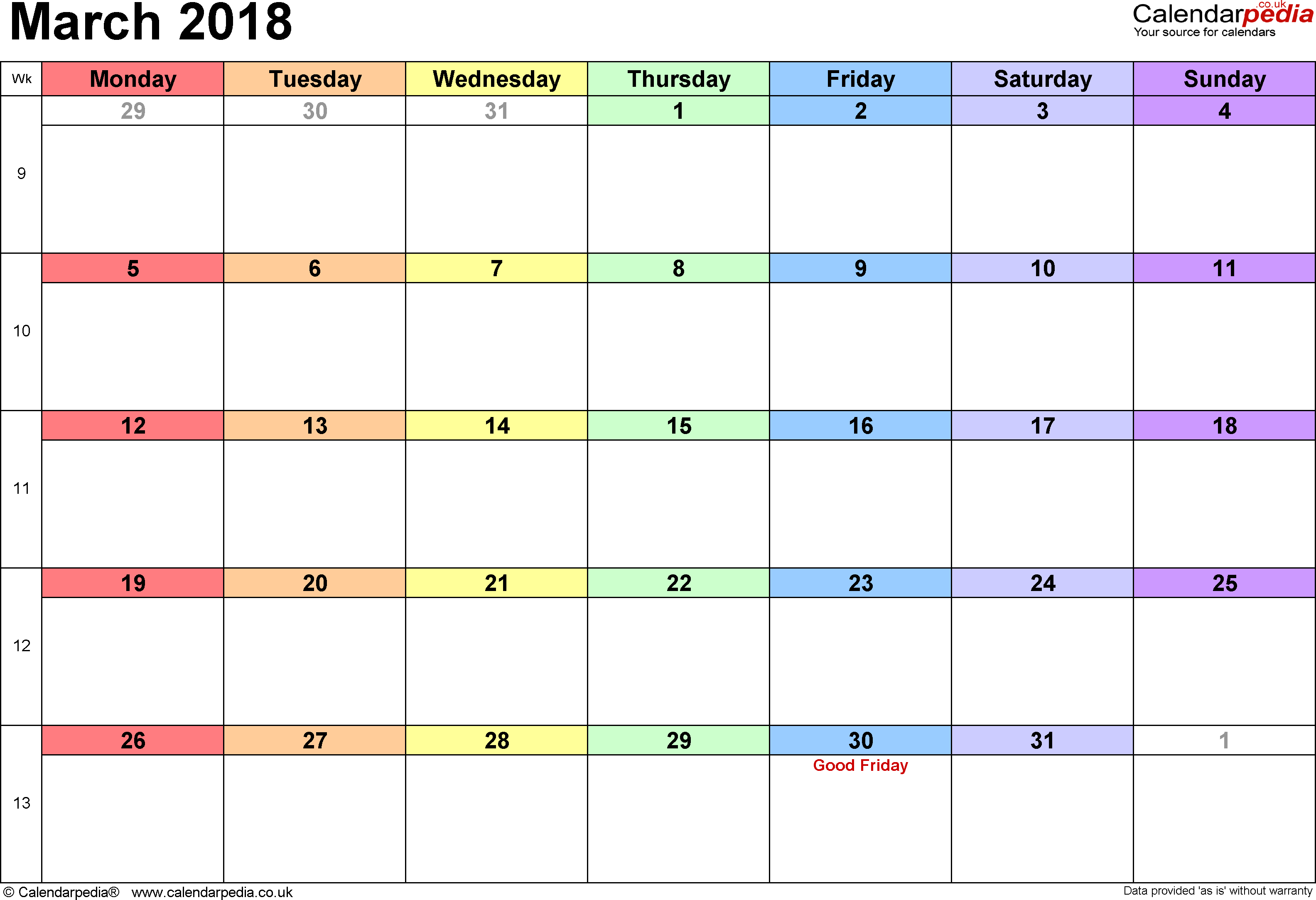 Calendar March 2018, landscape orientation, 1 page, with UK bank holidays and week numbers