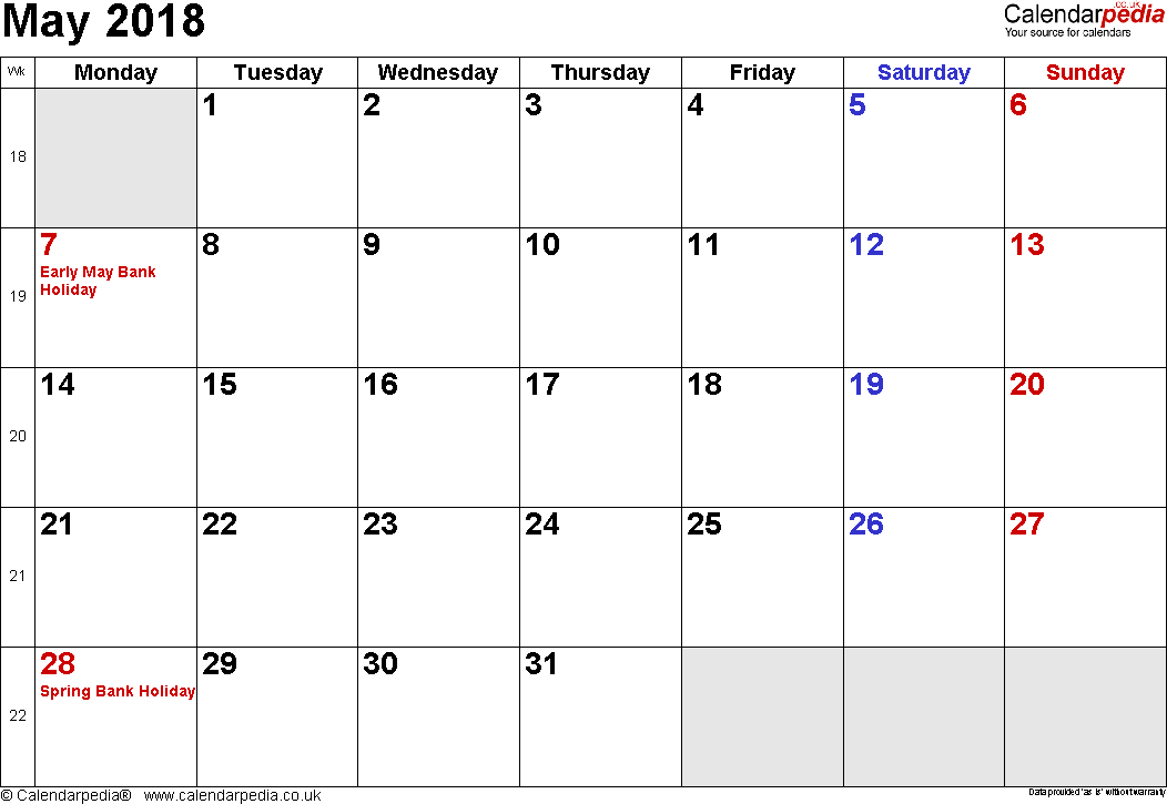 Calendar May 2018, landscape orientation, small numerals, 1 page, with UK bank holidays and week numbers