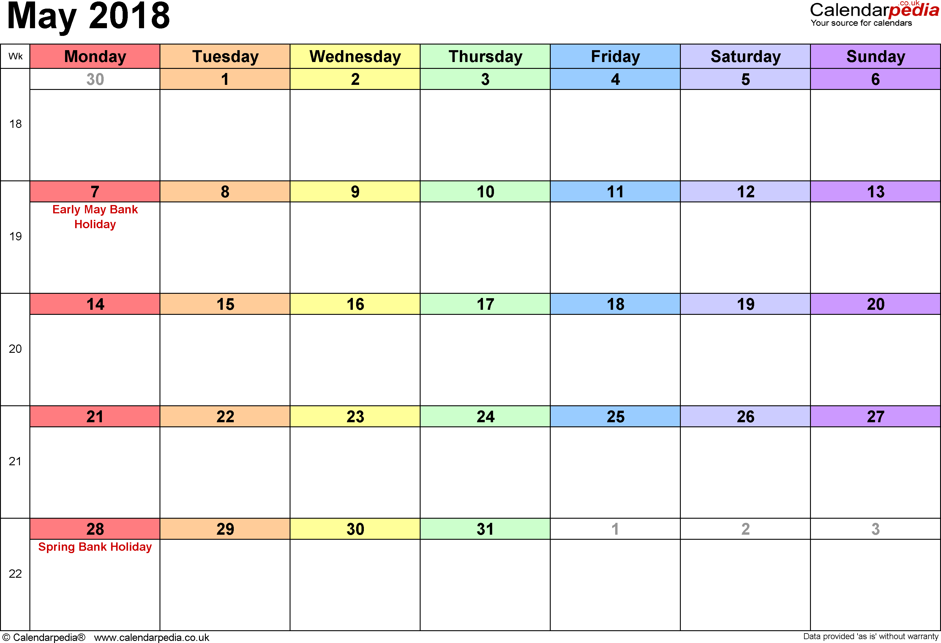 Calendar May 2018, landscape orientation, 1 page, with UK bank holidays and week numbers