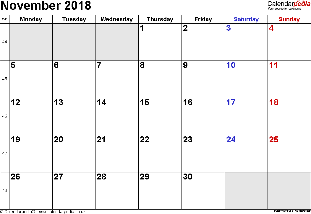Calendar November 2018, landscape orientation, small numerals, 1 page, with UK bank holidays and week numbers