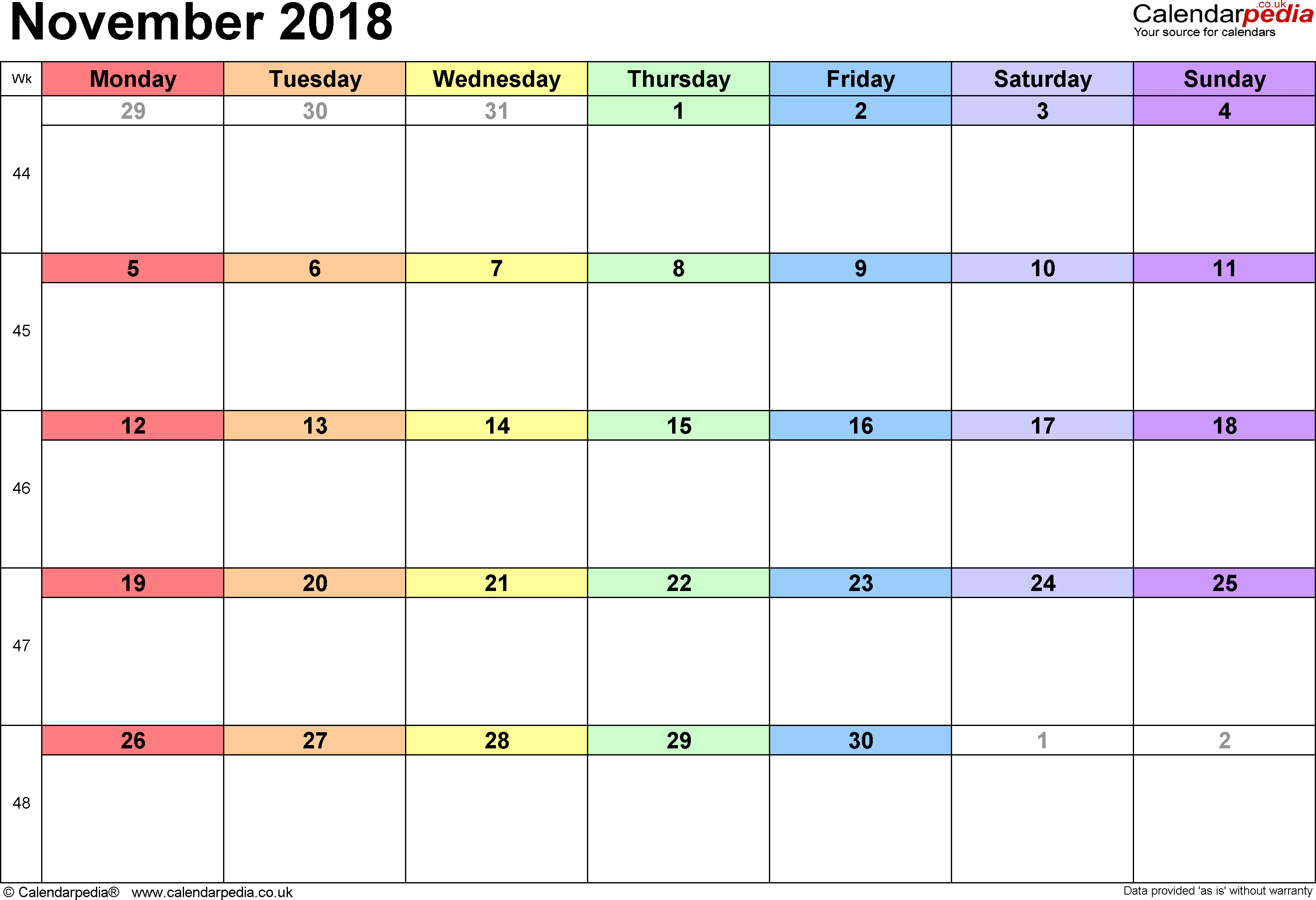 Calendar November 2018 (UK) With Excel, Word And PDF Templates