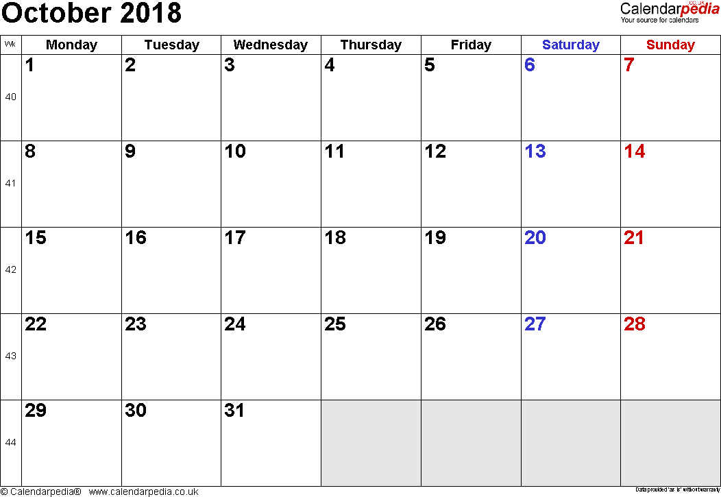 Calendar October 2018, landscape orientation, small numerals, 1 page, with UK bank holidays and week numbers