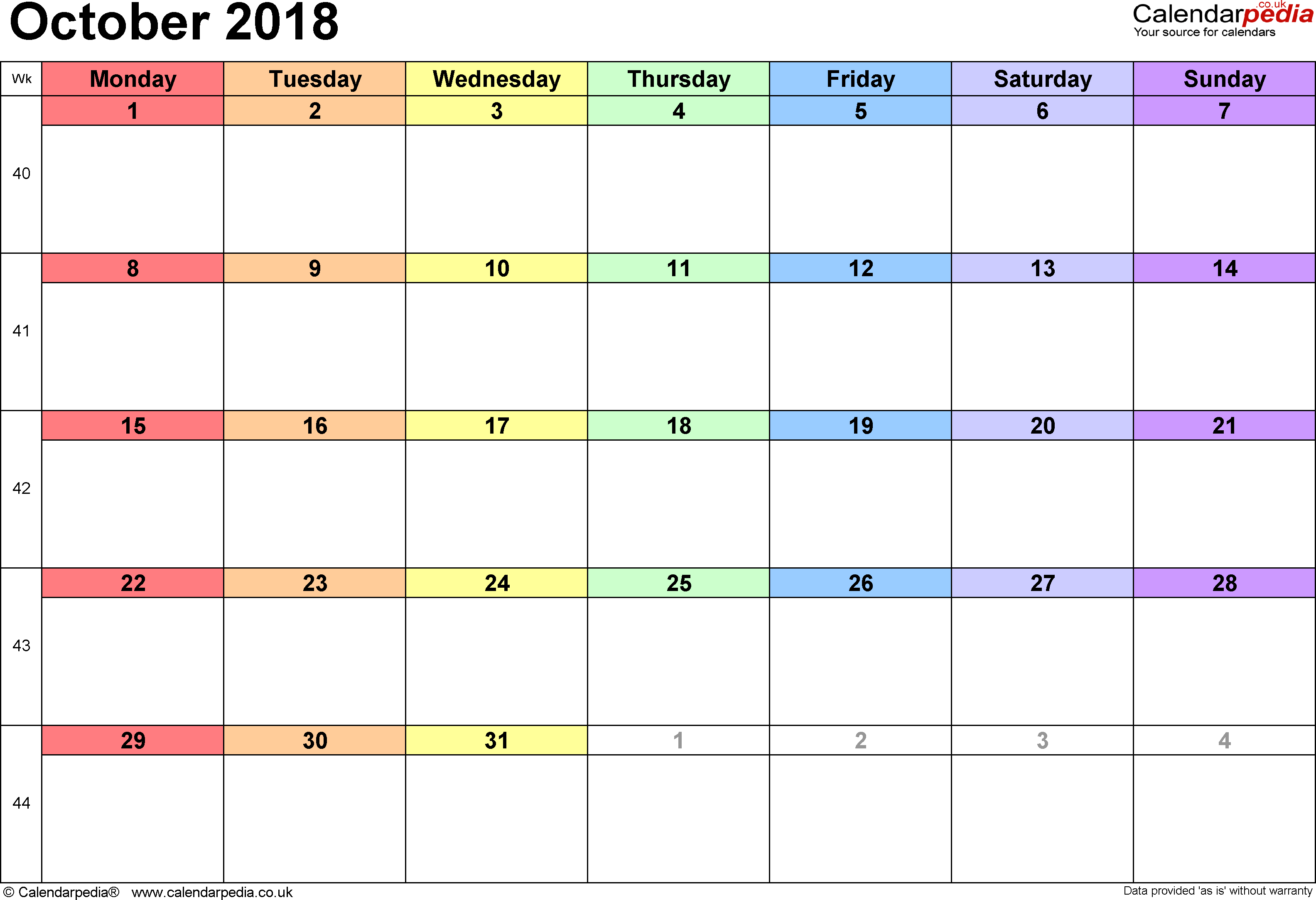 Calendar October 2018, landscape orientation, 1 page, with UK bank holidays and week numbers