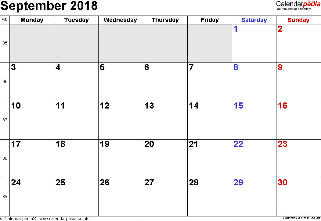Calendar September 2018, landscape orientation, small numerals, 1 page, with UK bank holidays and week numbers