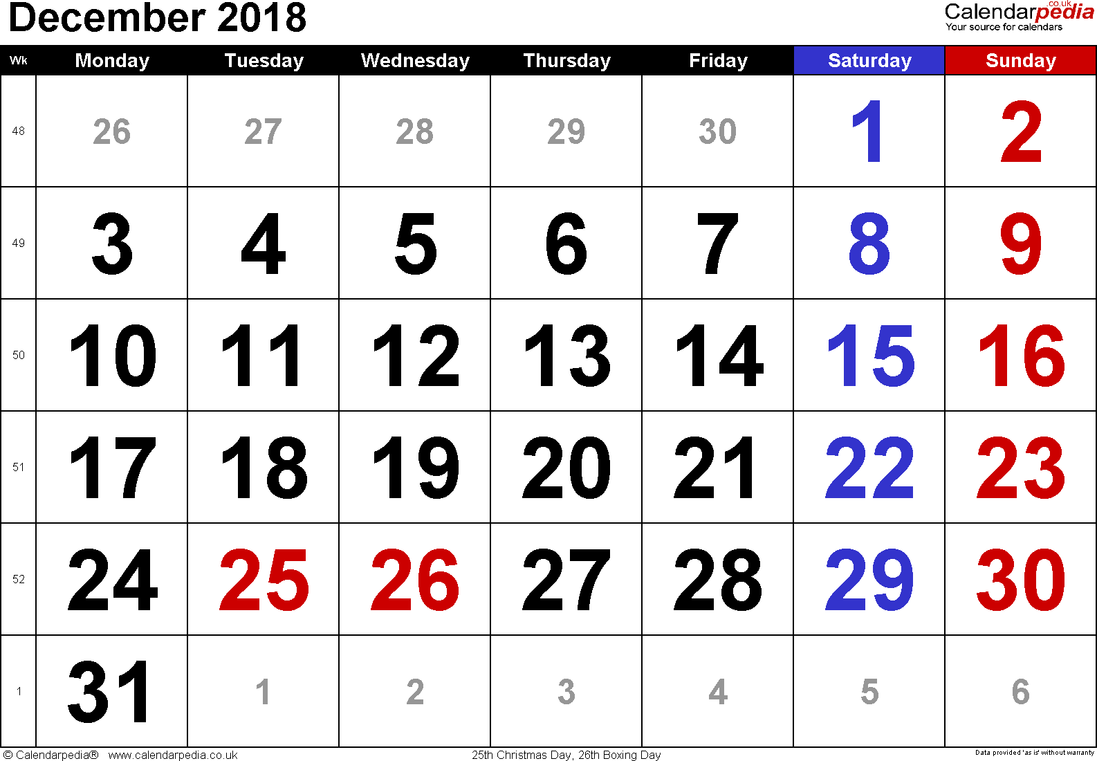 Calendar December 2018, landscape orientation, large numerals, 1 page, with UK bank holidays and week numbers
