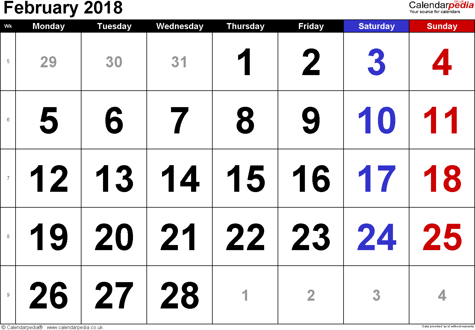 Calendar February 2018, landscape orientation, large numerals, 1 page, with UK bank holidays and week numbers
