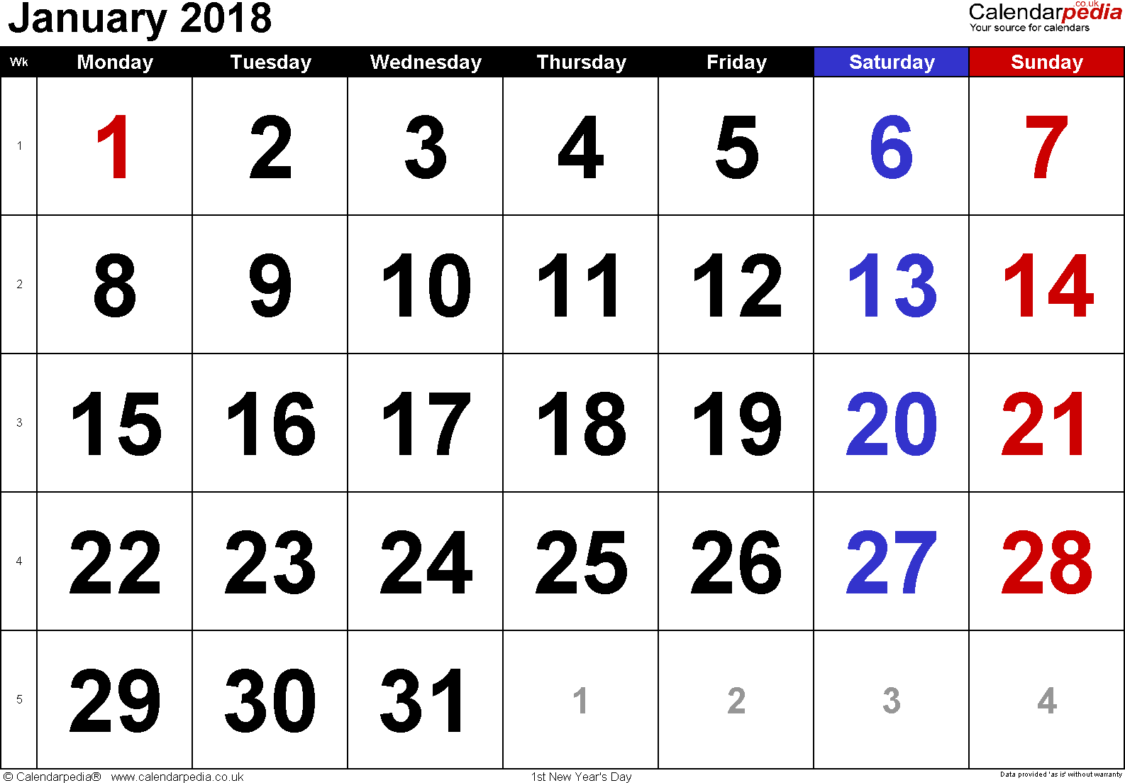 Calendar January 2018, landscape orientation, large numerals, 1 page, with UK bank holidays and week numbers