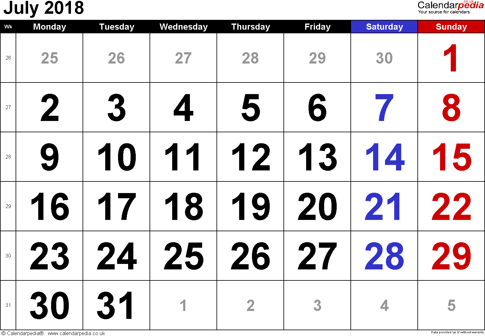 Calendar July 2018, landscape orientation, large numerals, 1 page, with UK bank holidays and week numbers
