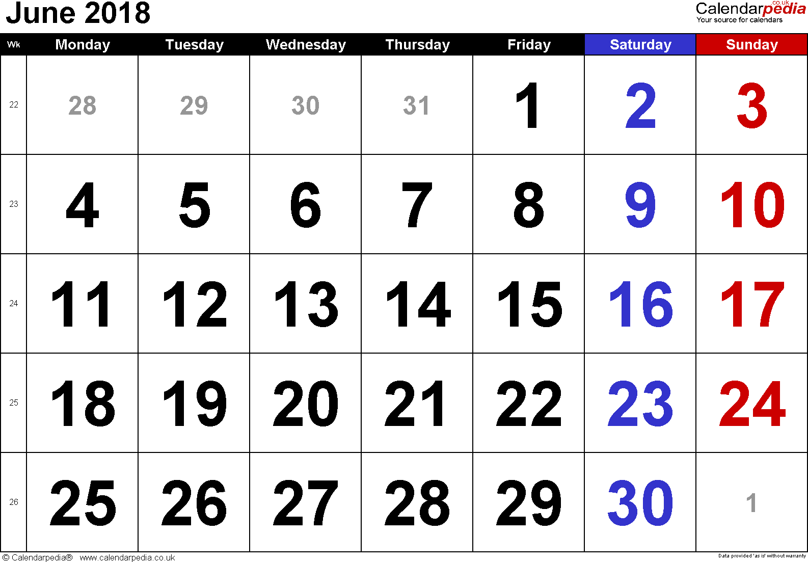 Calendar June 2018, landscape orientation, large numerals, 1 page, with UK bank holidays and week numbers