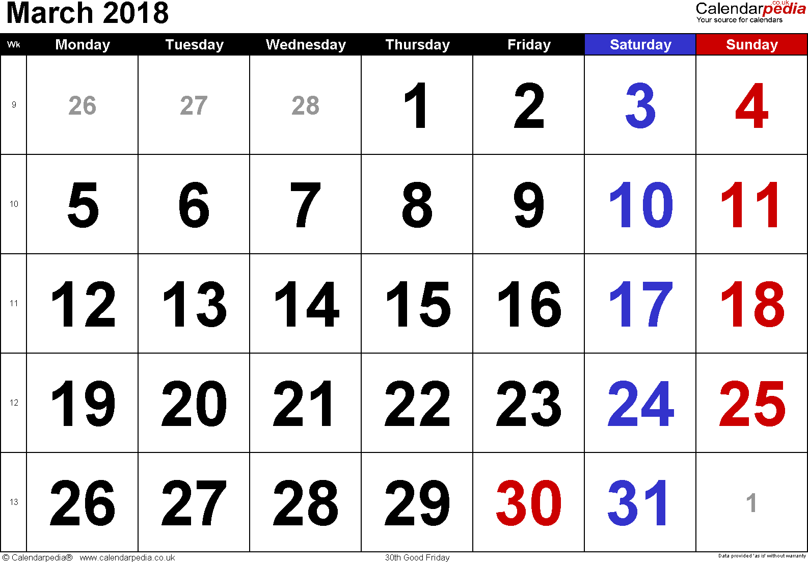 Calendar March 2018, landscape orientation, large numerals, 1 page, with UK bank holidays and week numbers