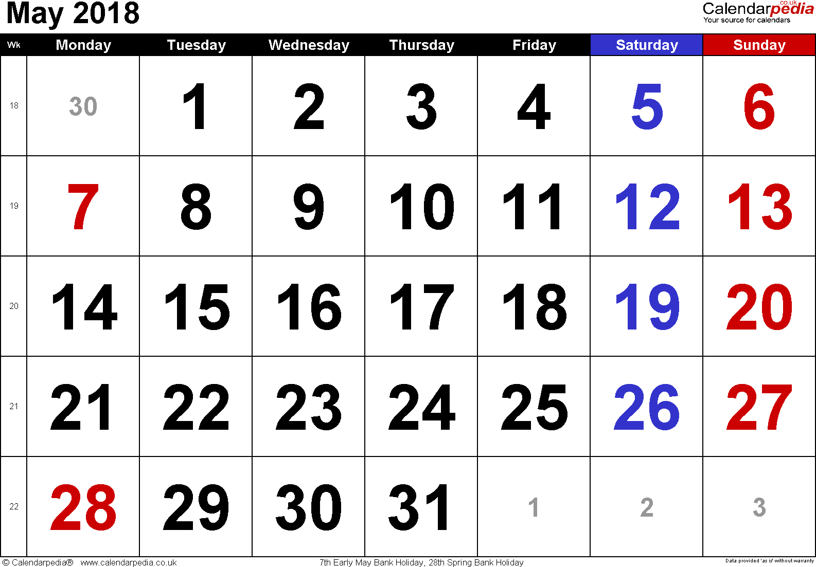 Calendar May 2018, landscape orientation, large numerals, 1 page, with UK bank holidays and week numbers