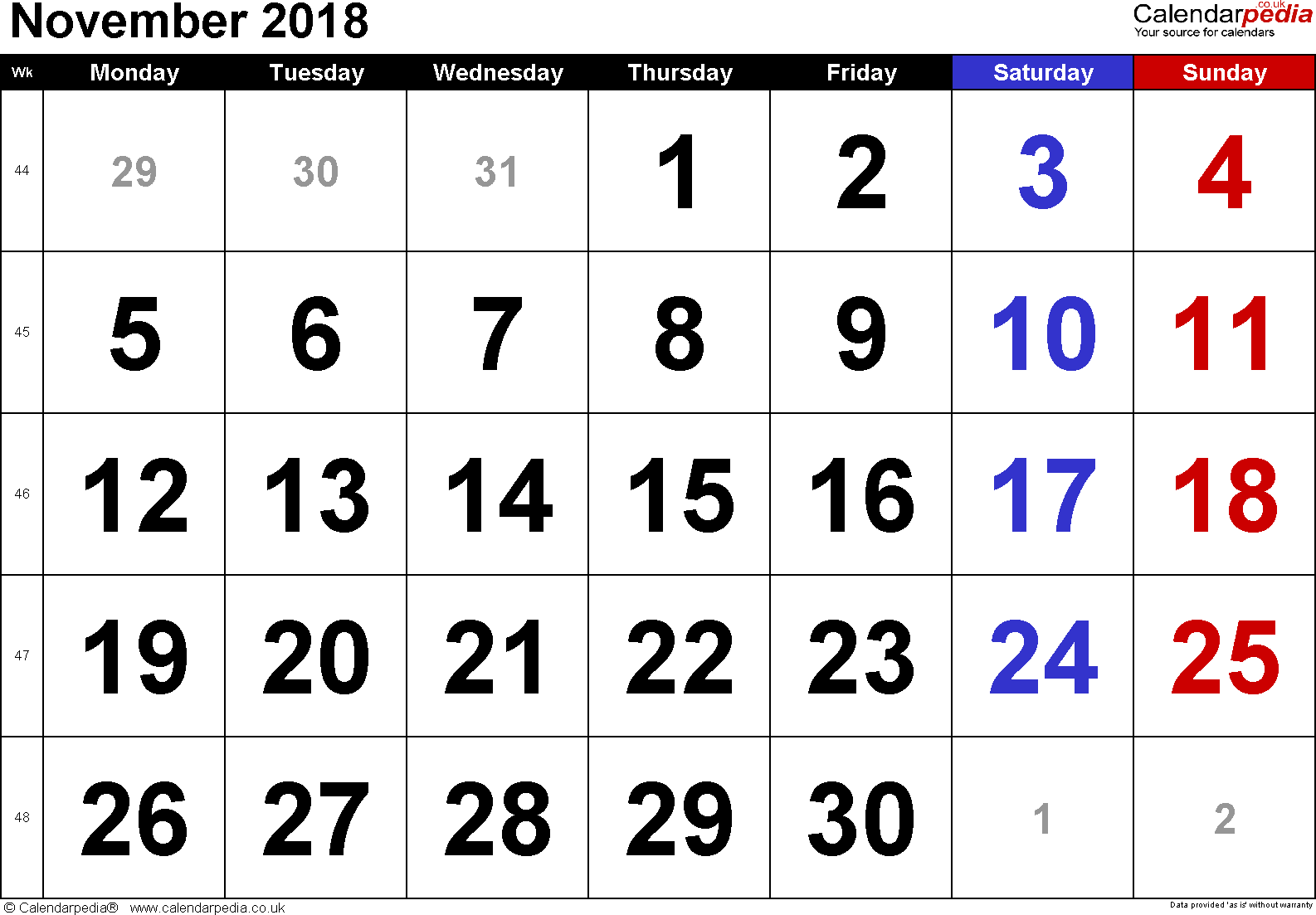 Calendar November 2018, landscape orientation, large numerals, 1 page, with UK bank holidays and week numbers