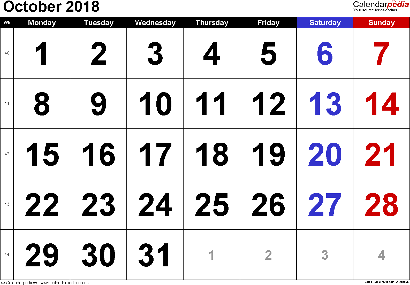 Calendar October 2018, landscape orientation, large numerals, 1 page, with UK bank holidays and week numbers