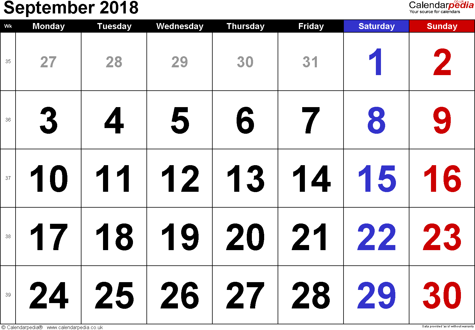 Calendar September 2018, landscape orientation, large numerals, 1 page, with UK bank holidays and week numbers
