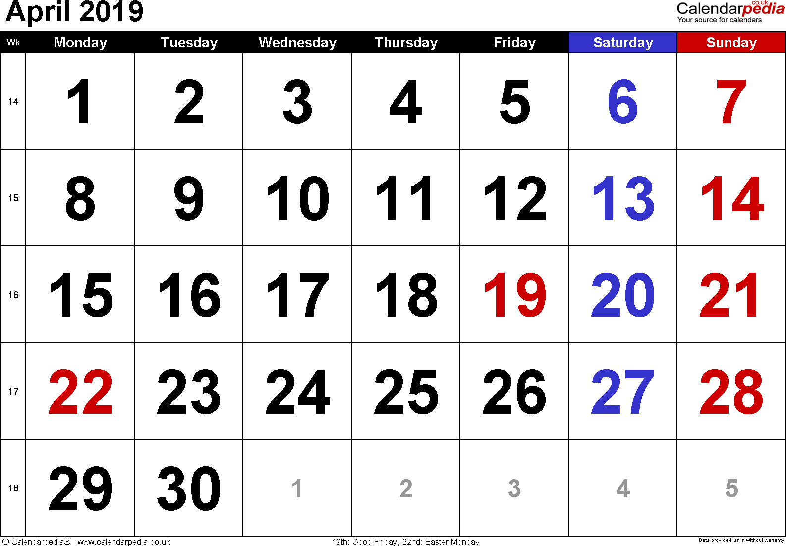 Calendar April 2019, landscape orientation, large numerals, 1 page, with UK bank holidays and week numbers
