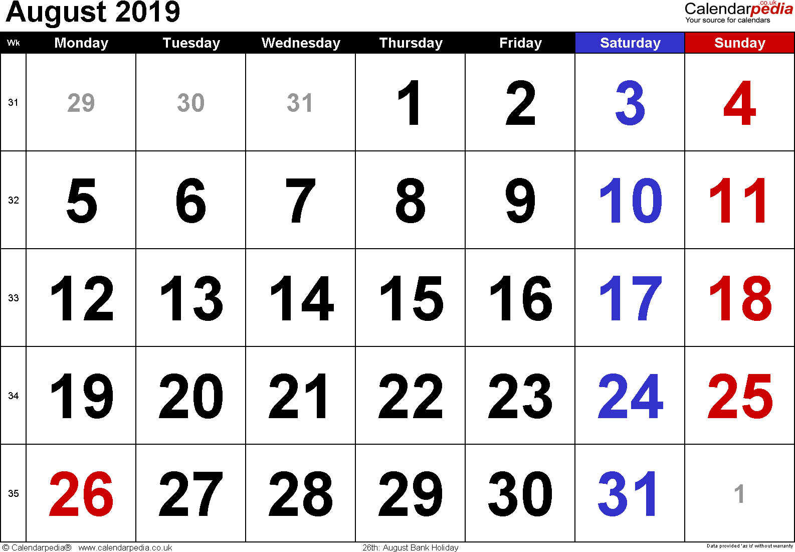 Calendar August 2019, landscape orientation, large numerals, 1 page, with UK bank holidays and week numbers