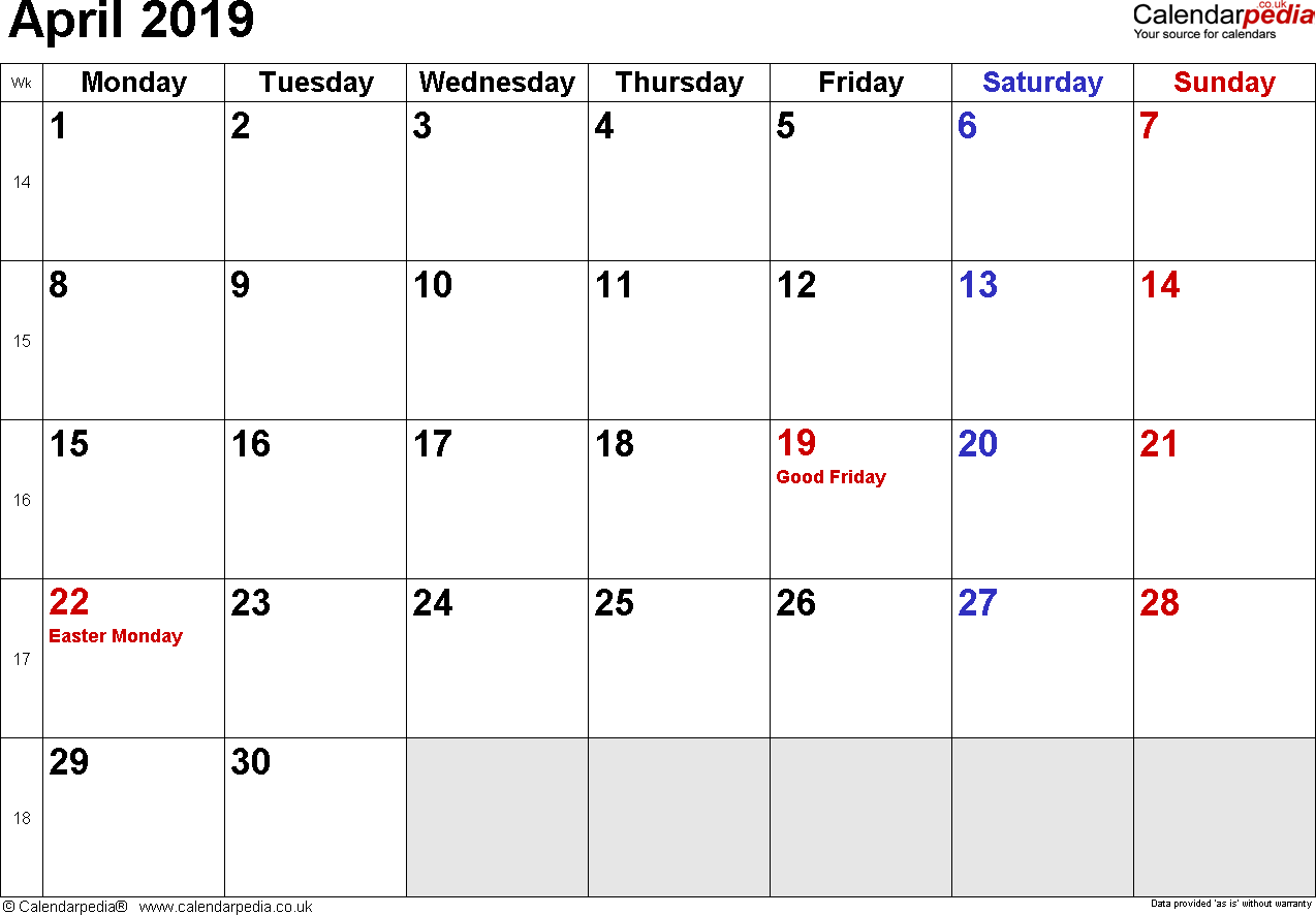 Calendar April 2019 Uk Bank Holidays Excel Pdf Word