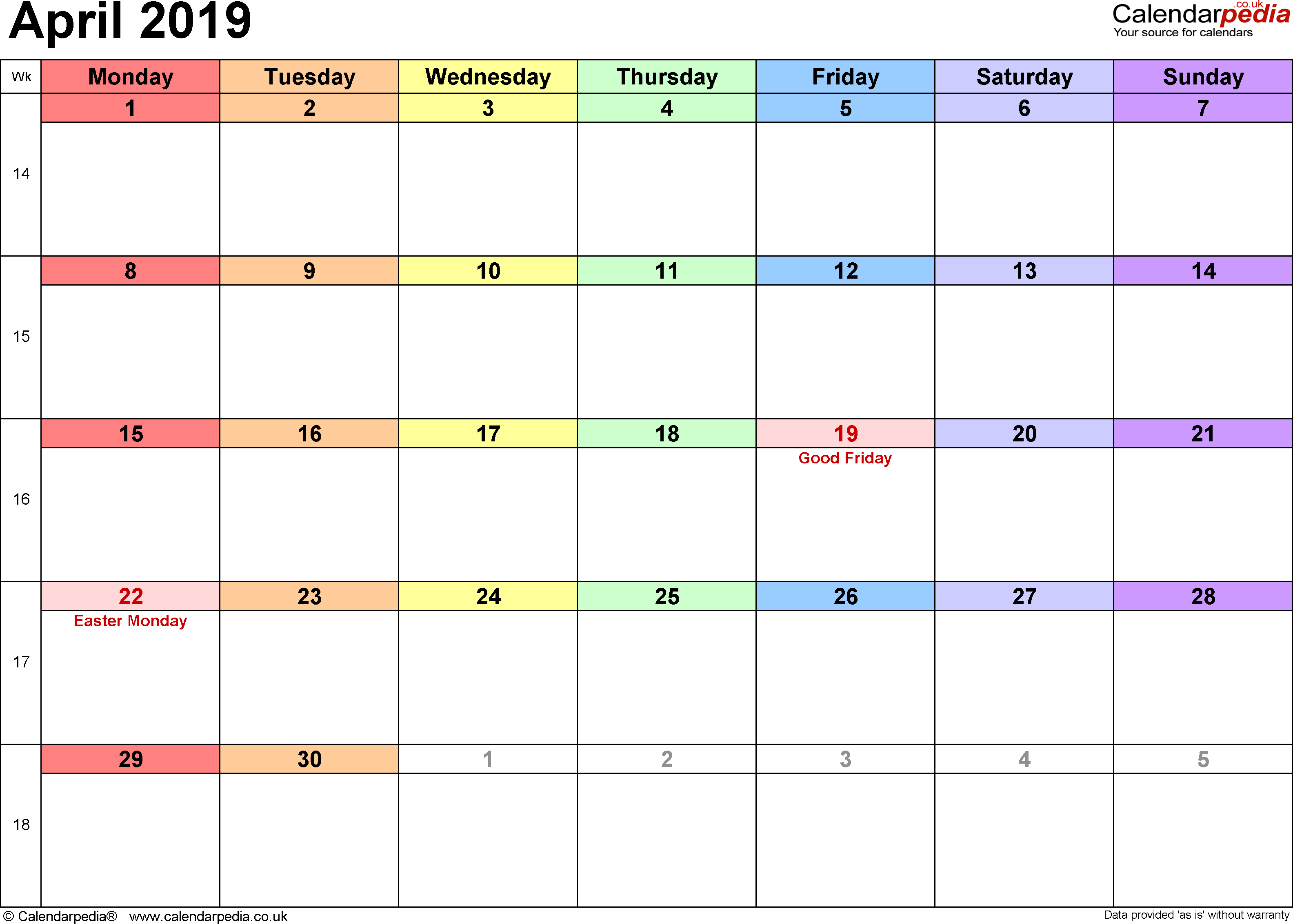 Calendar April 2019, landscape orientation, 1 page, with UK bank holidays and week numbers