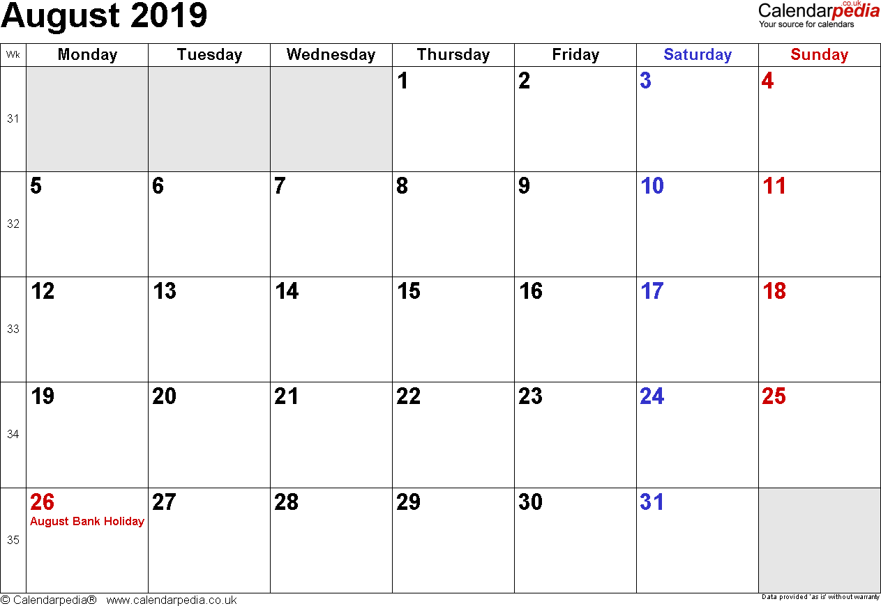 Calendar August 2019, landscape orientation, small numerals, 1 page, with UK bank holidays and week numbers
