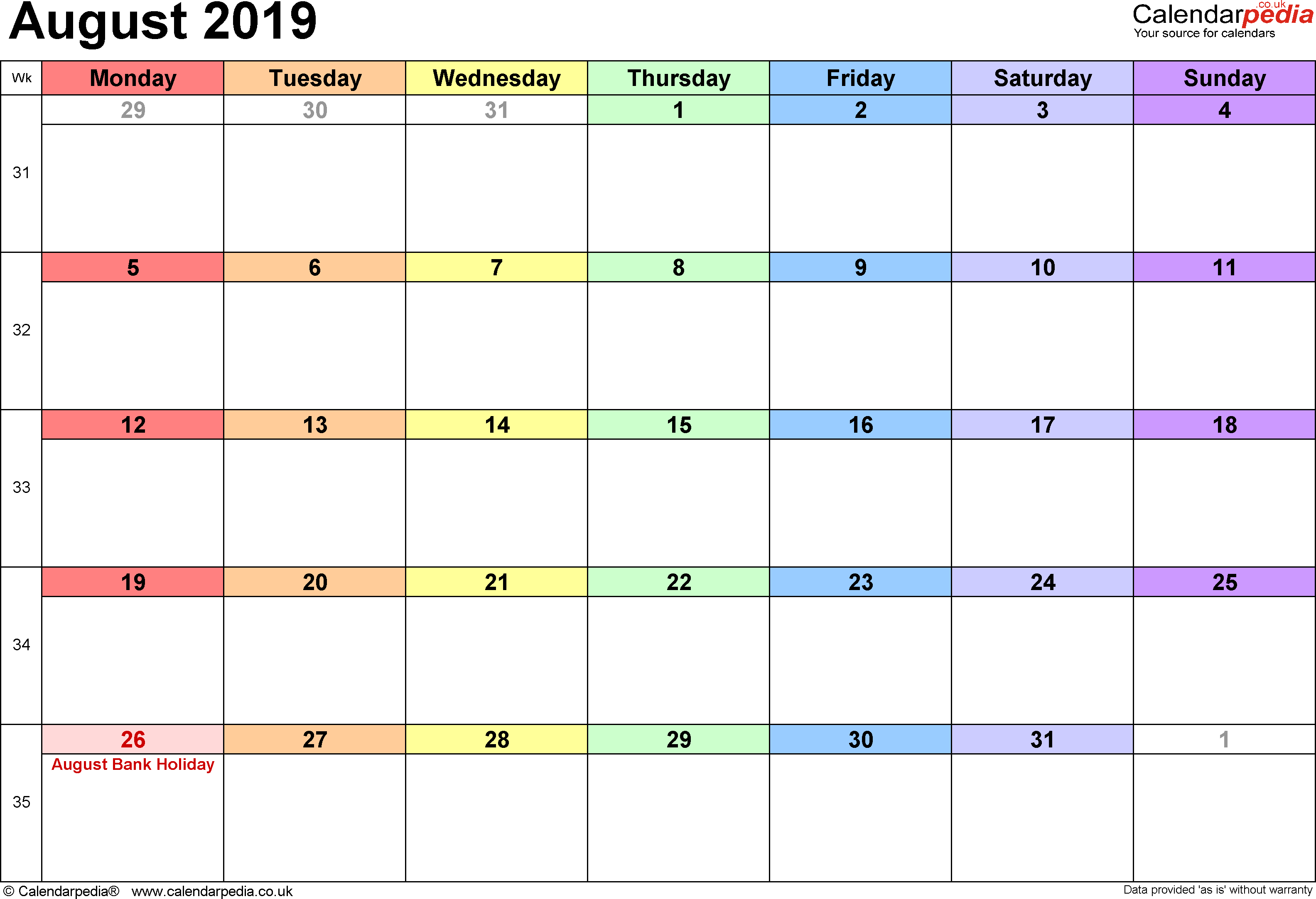 Calendar August 2019, landscape orientation, 1 page, with UK bank holidays and week numbers