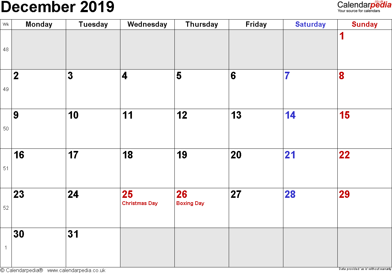 Calendar December 2019, landscape orientation, small numerals, 1 page, with UK bank holidays and week numbers